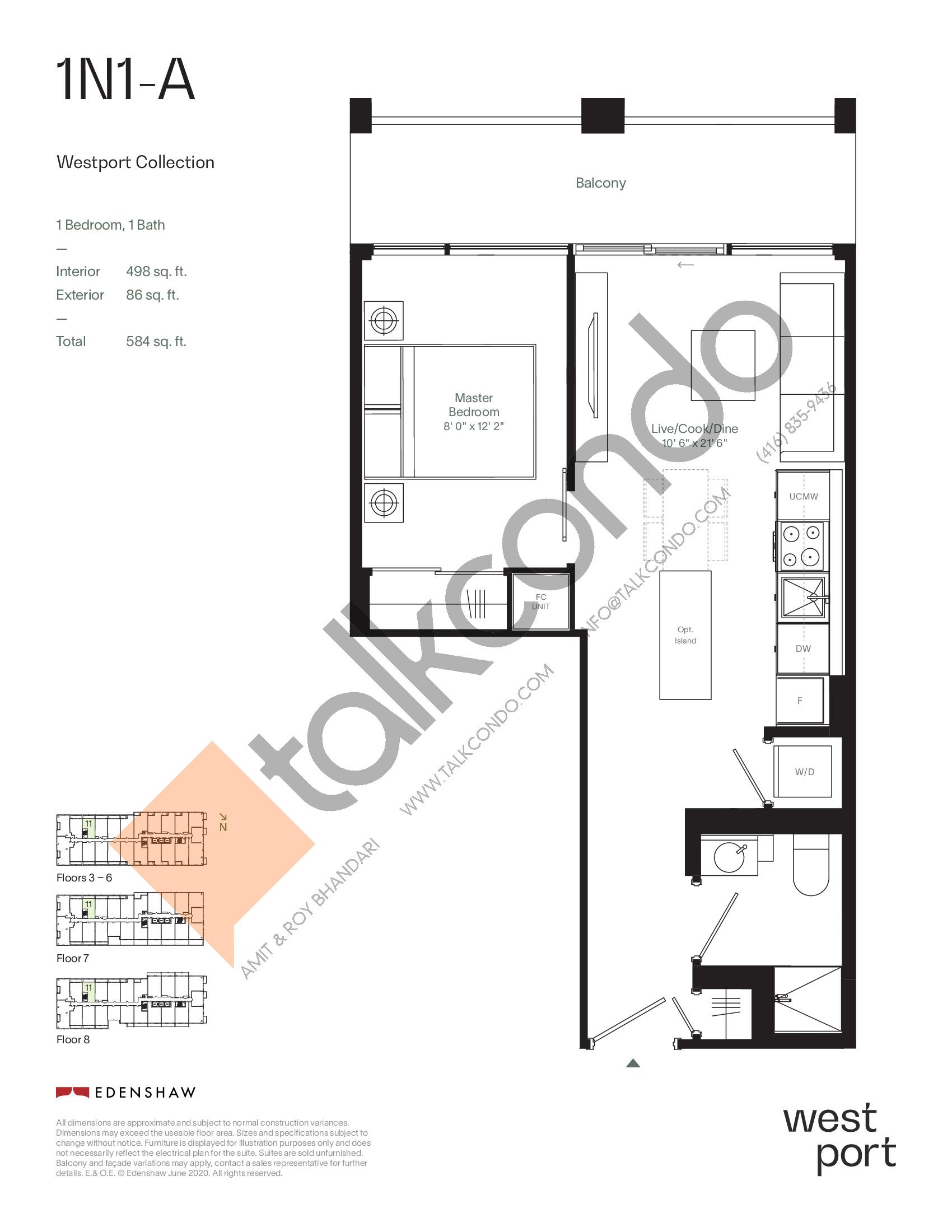 1N1-A - Westport Collection Floor Plan at Westport Condos - 498 sq.ft