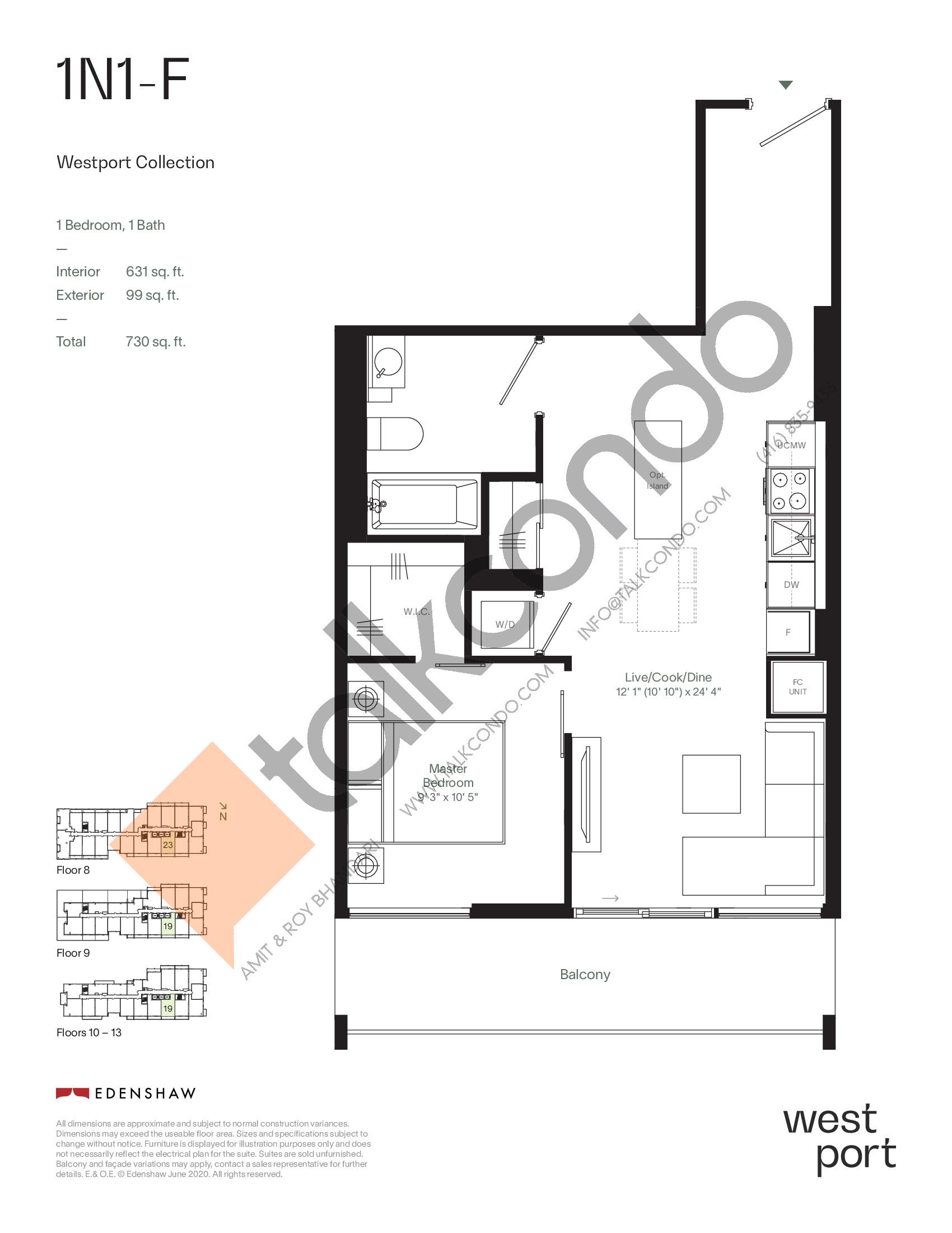 1N1-F - Westport Collection Floor Plan at Westport Condos - 631 sq.ft