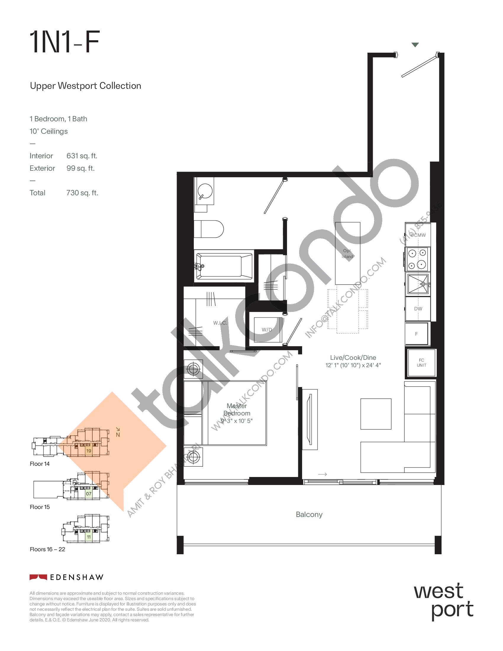 1N1-F - Upper Westport Collection Floor Plan at Westport Condos - 631 sq.ft