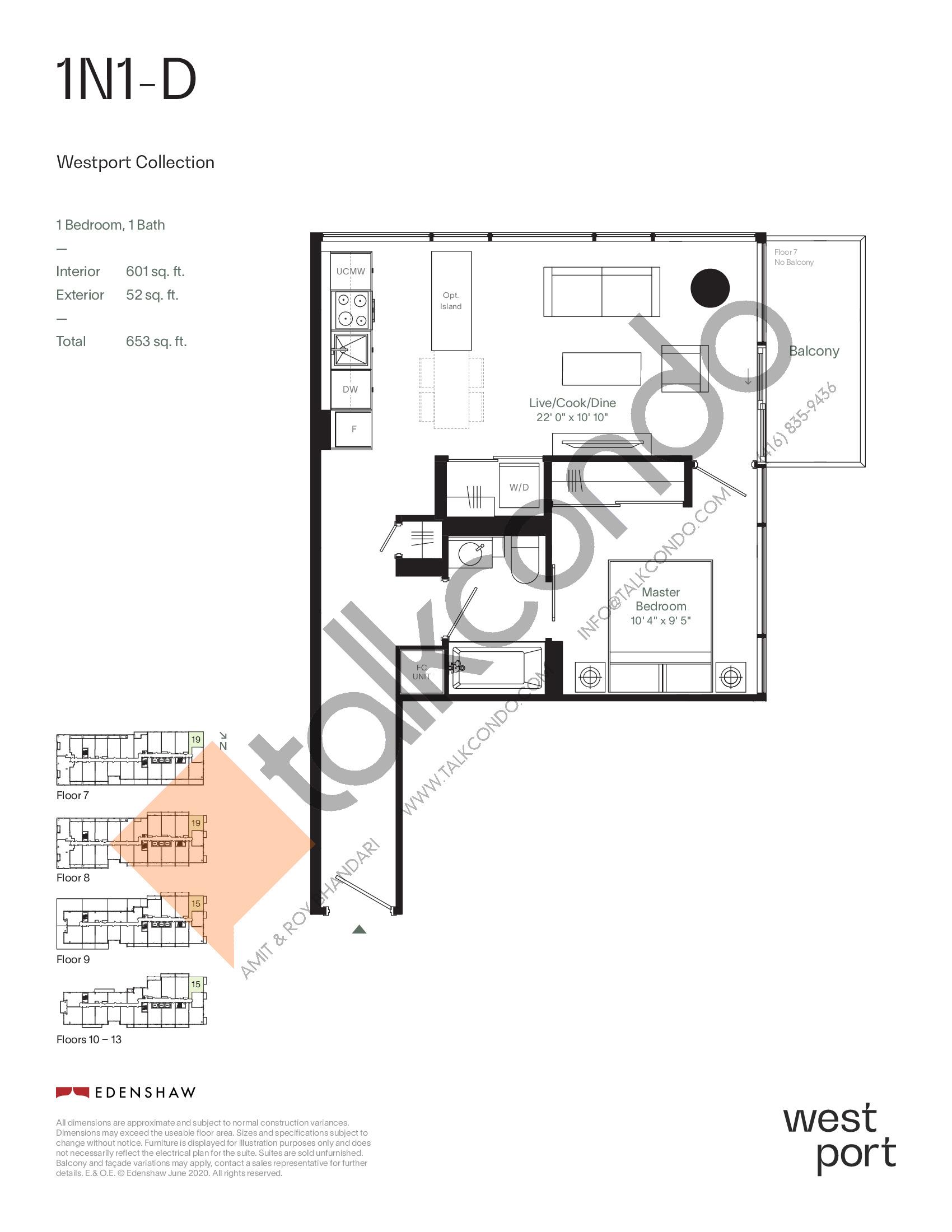 1N1-D - Westport Collection Floor Plan at Westport Condos - 601 sq.ft