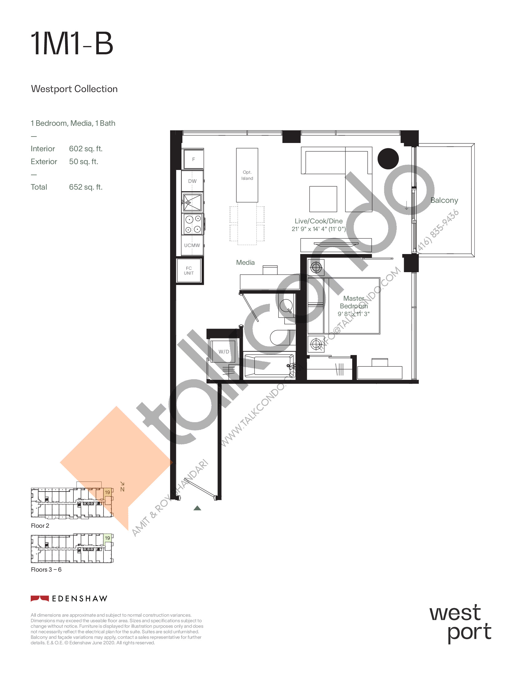 1M1-B - Westport Collection Floor Plan at Westport Condos - 602 sq.ft