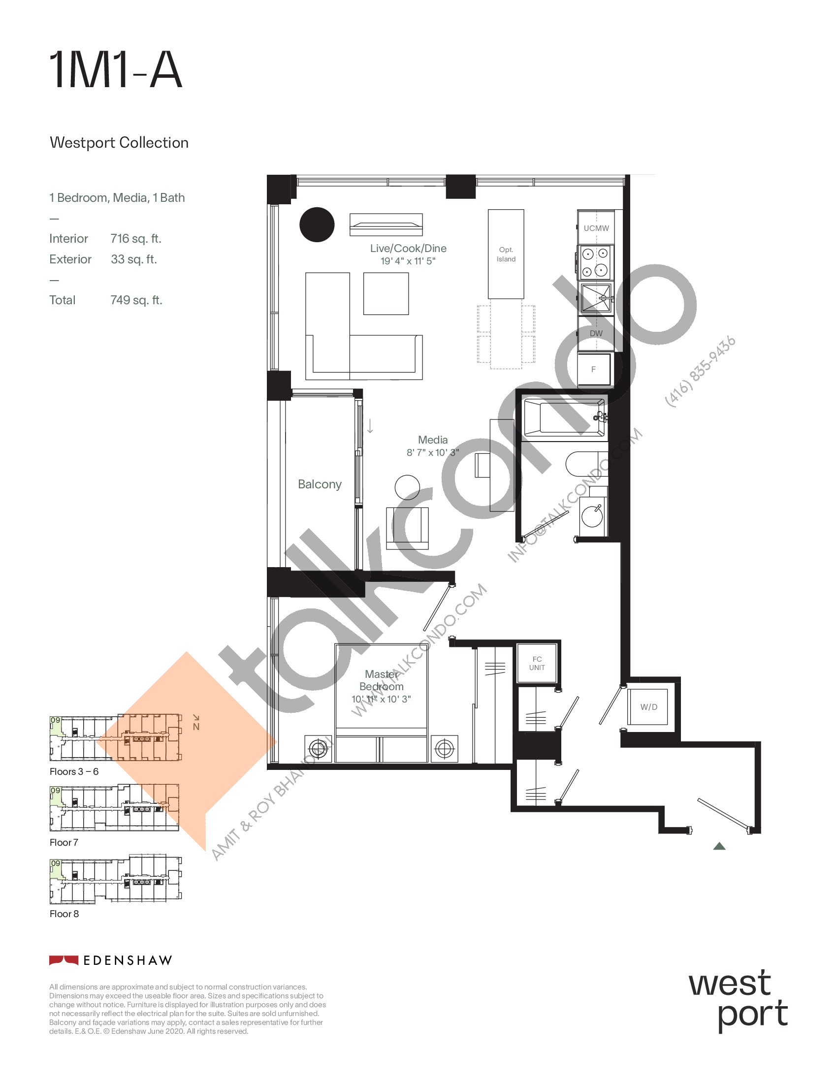 1M1-A - Westport Collection Floor Plan at Westport Condos - 716 sq.ft