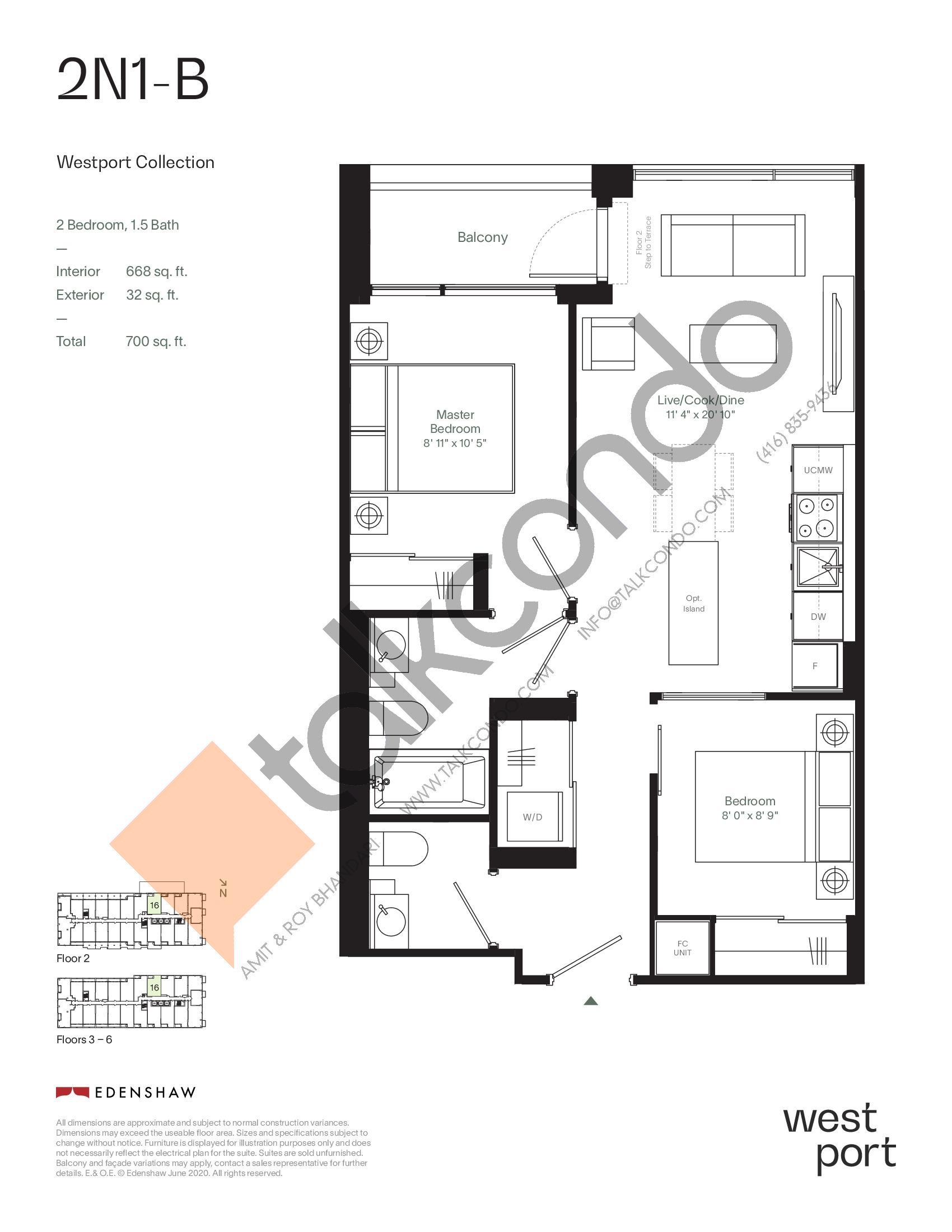 2N1-B - Westport Collection Floor Plan at Westport Condos - 668 sq.ft