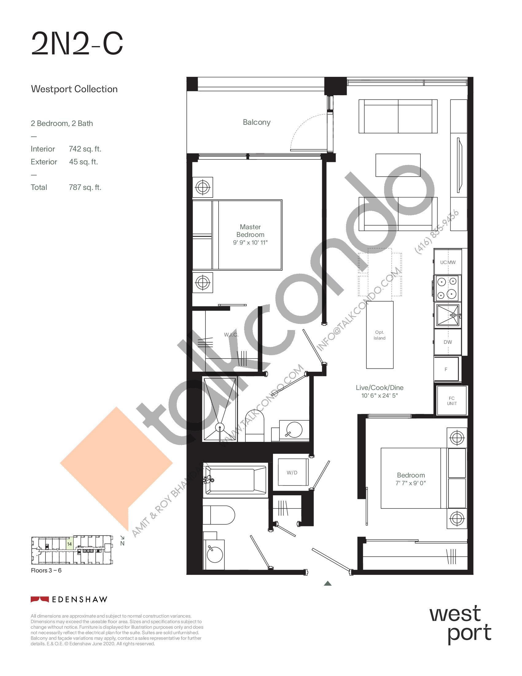 2N2-C - Westport Collection Floor Plan at Westport Condos - 742 sq.ft