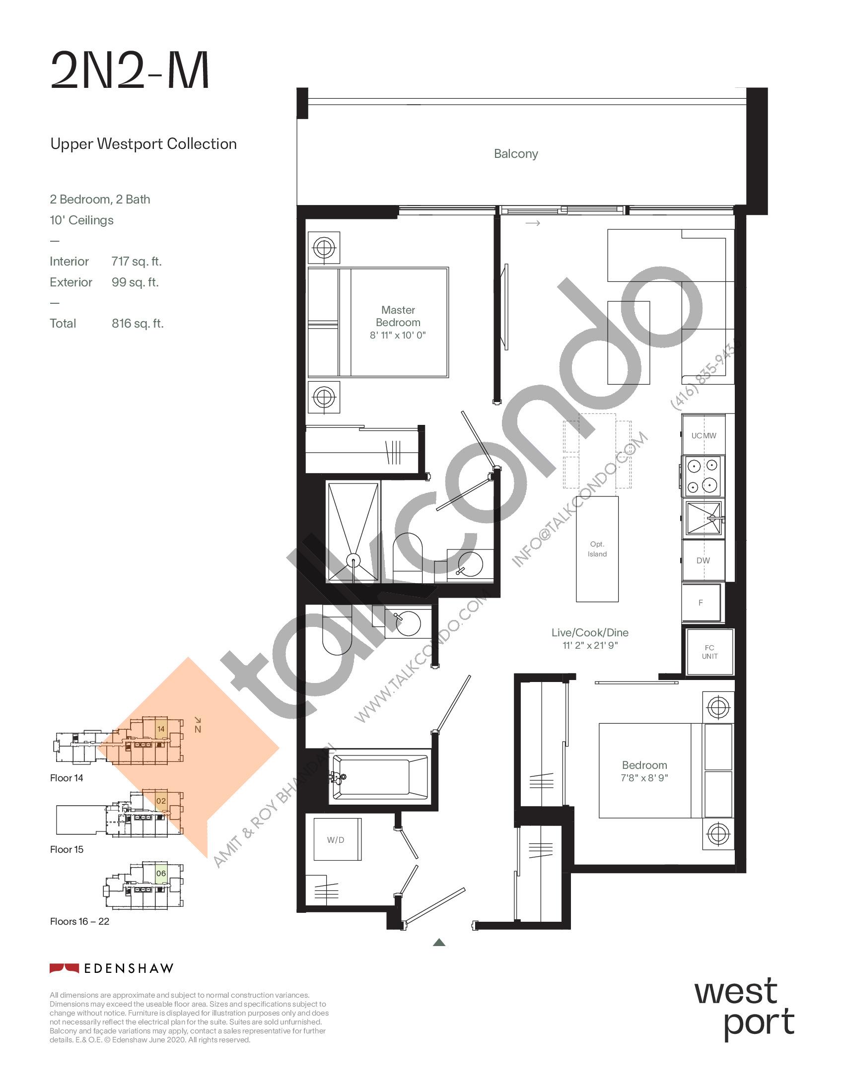 2N2-M - Upper Westport Collection Floor Plan at Westport Condos - 717 sq.ft
