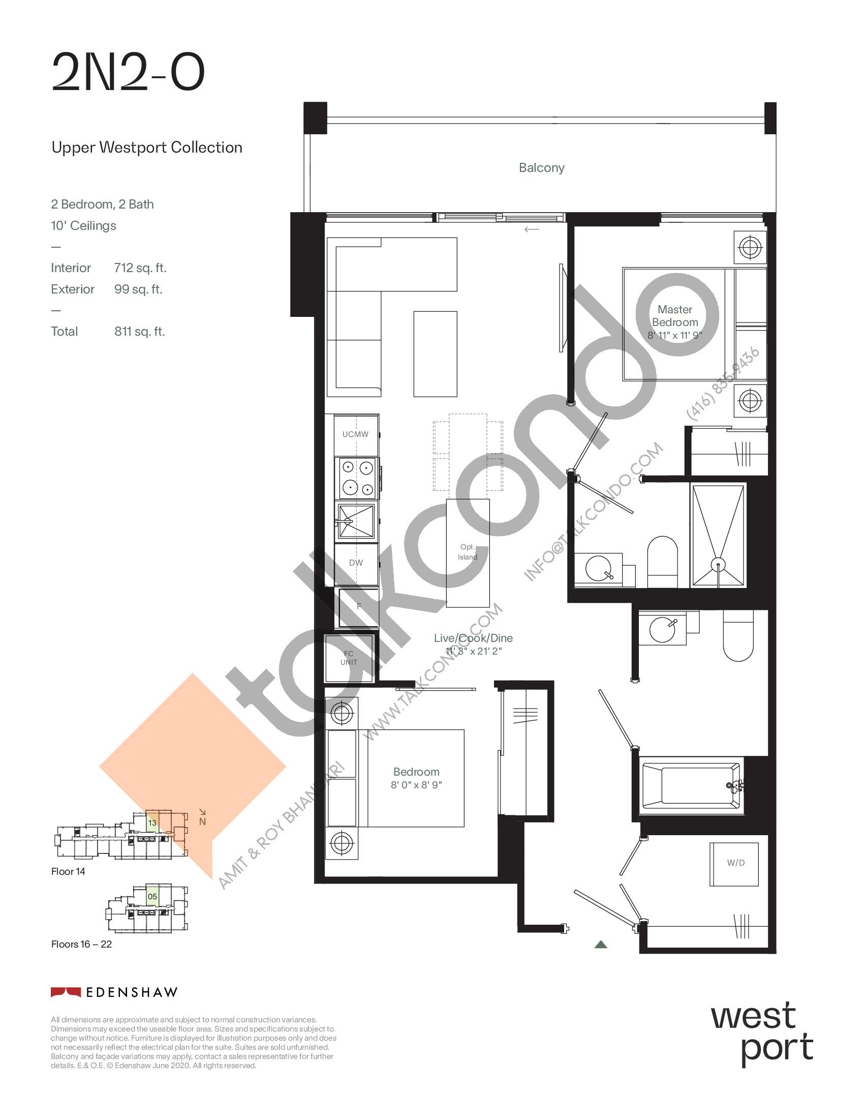2N2-O - Upper Westport Collection Floor Plan at Westport Condos - 712 sq.ft