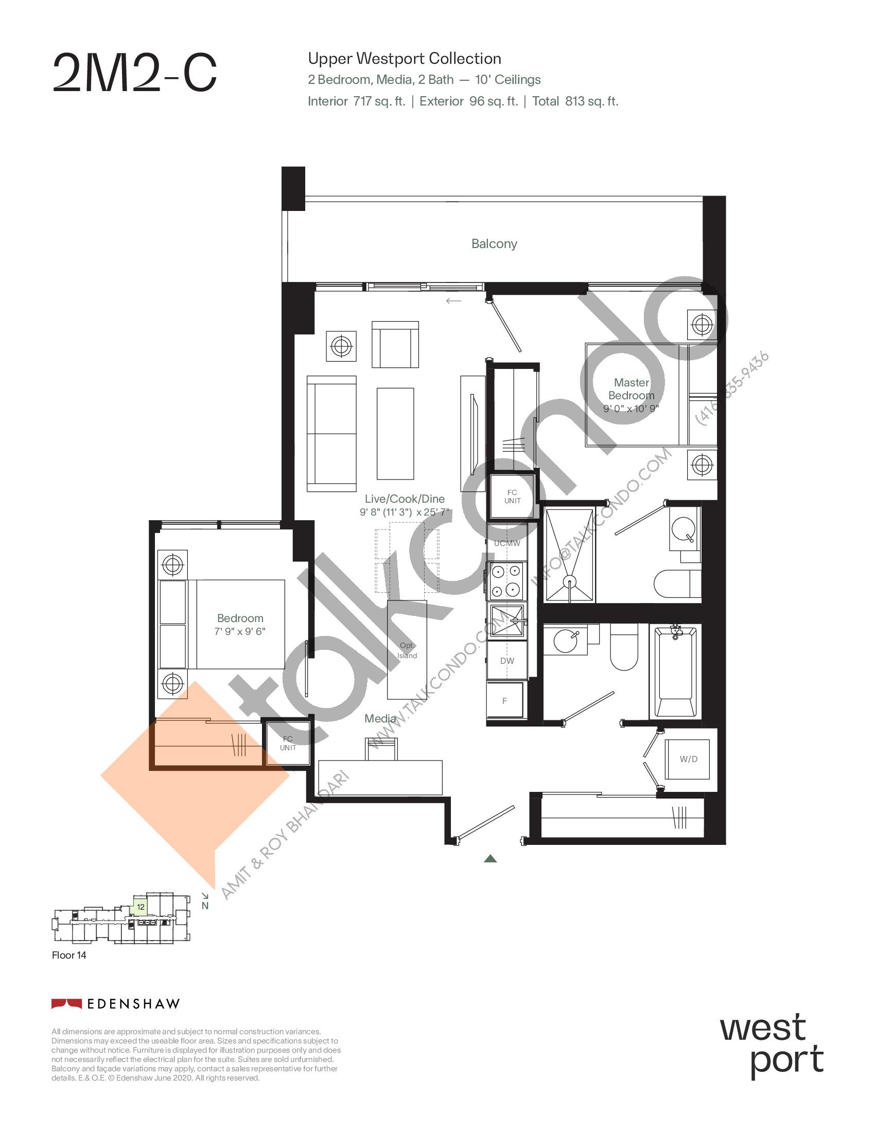 2M2-C - Upper Westport Collection Floor Plan at Westport Condos - 717 sq.ft