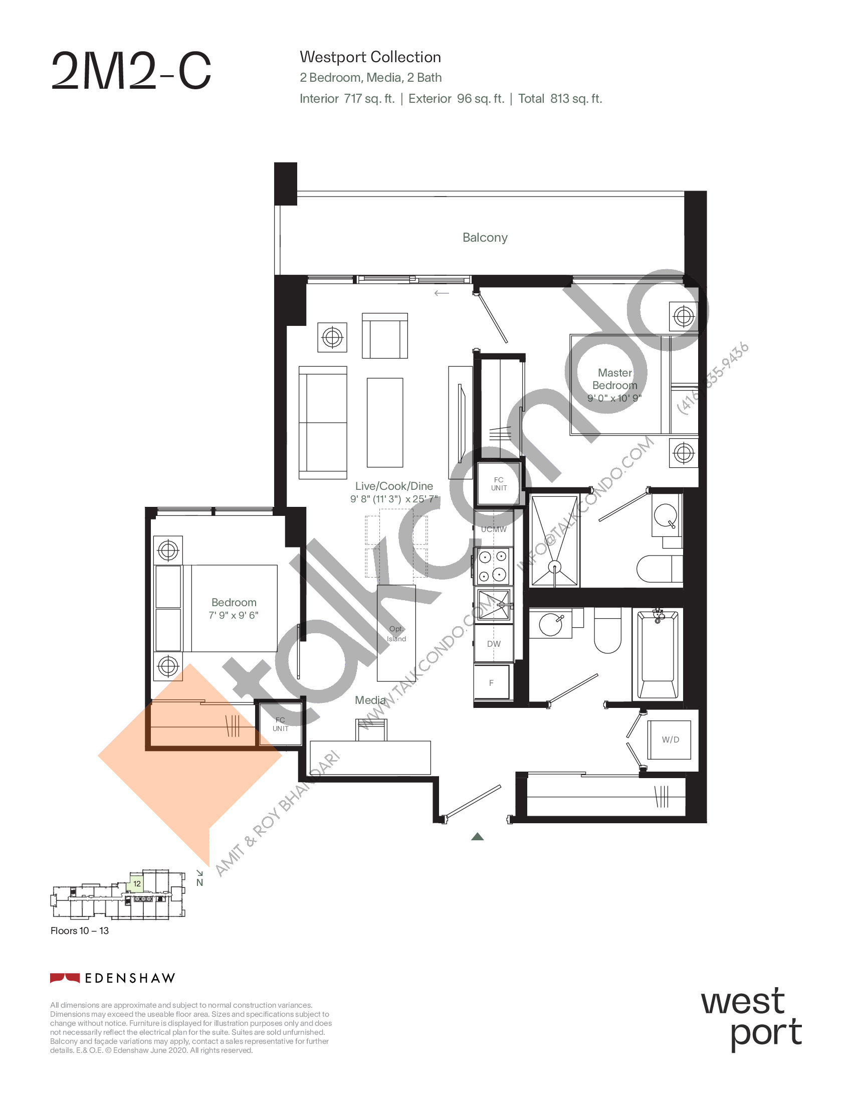 2M2-C - Westport Collection Floor Plan at Westport Condos - 717 sq.ft