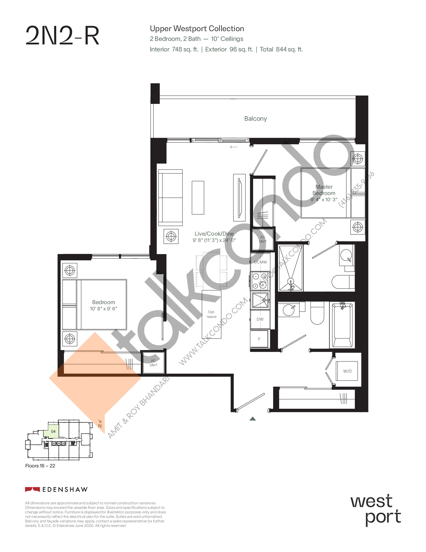 2N2-R - Upper Westport Collection Floor Plan at Westport Condos - 748 sq.ft