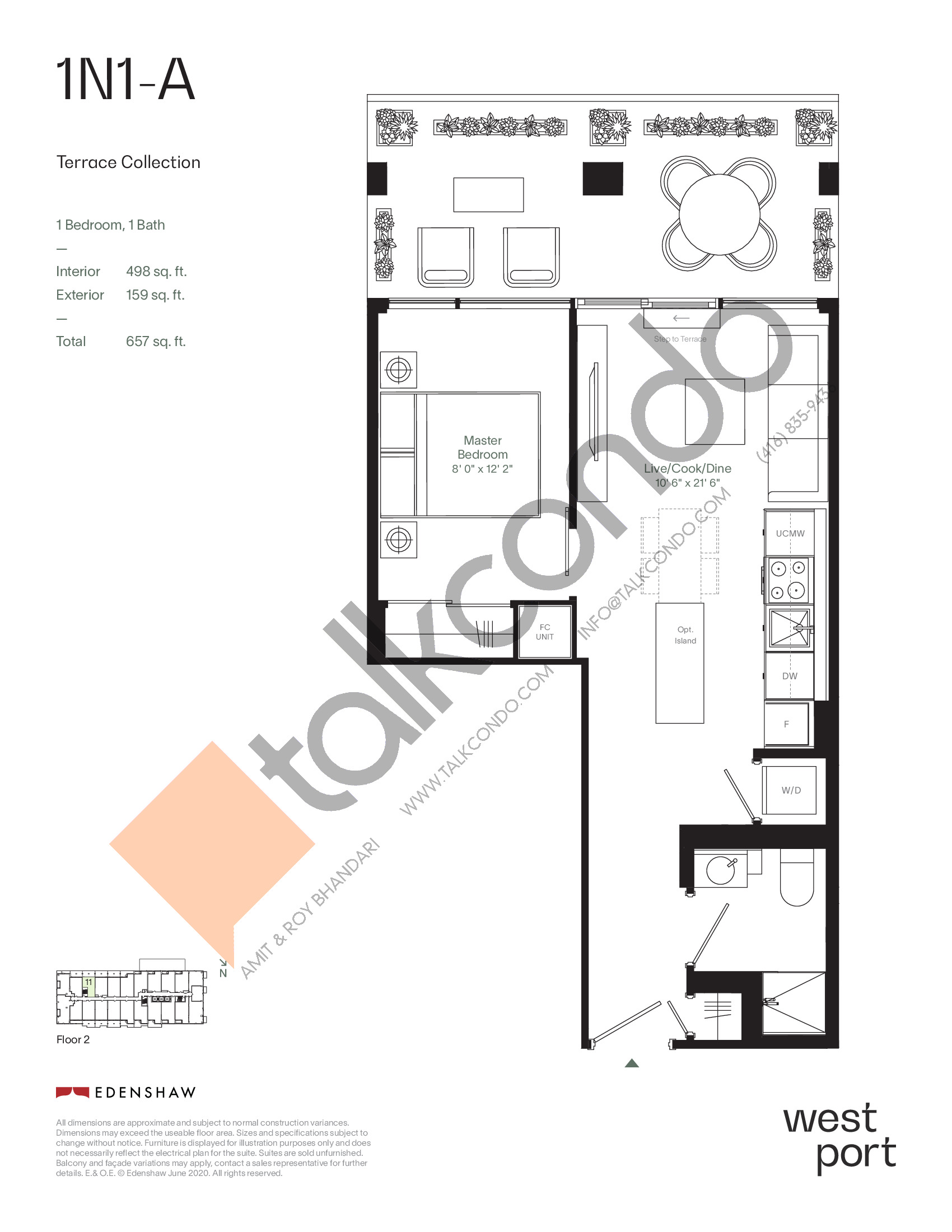 1N1-A - Terrace Collection Floor Plan at Westport Condos - 498 sq.ft
