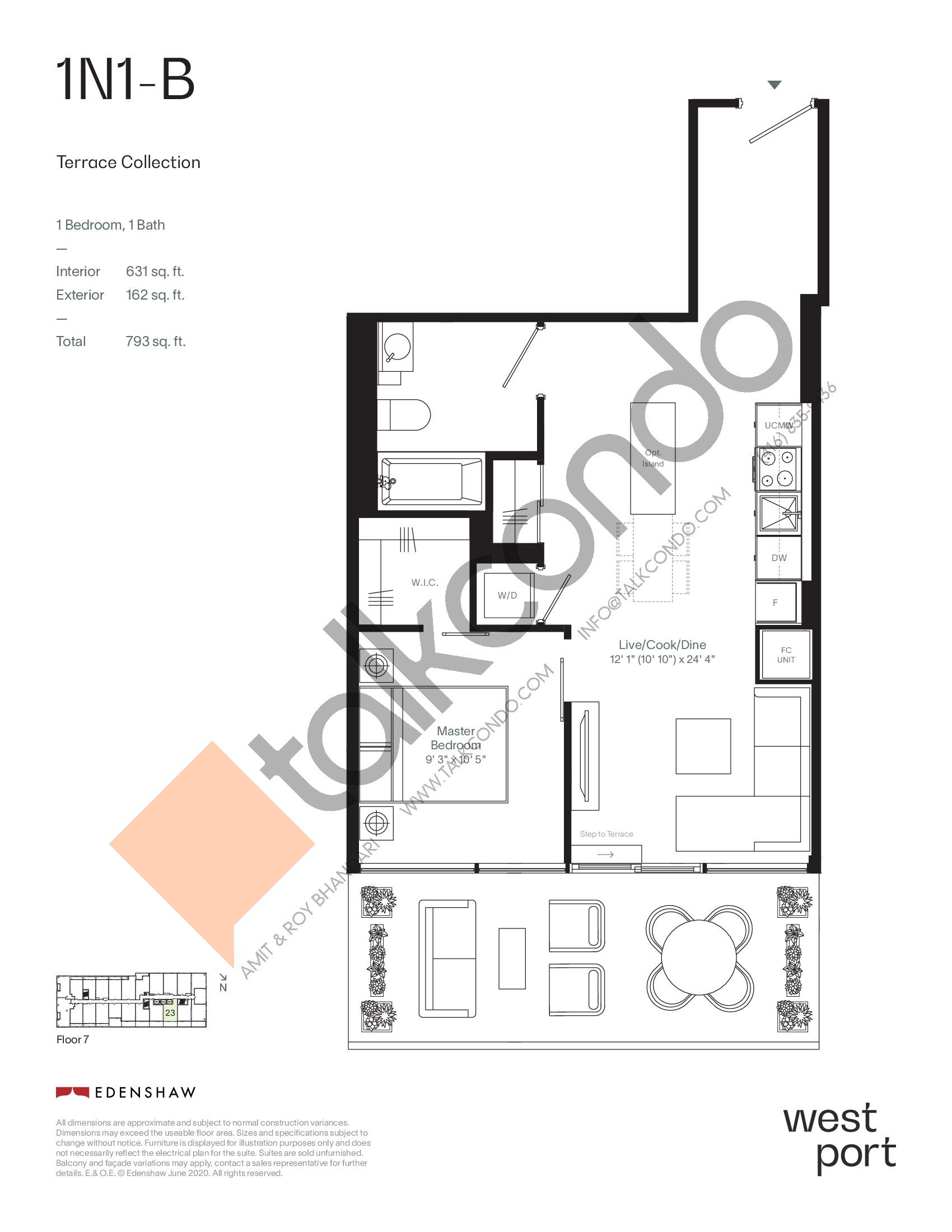1N1-B - Terrace Collection Floor Plan at Westport Condos - 631 sq.ft