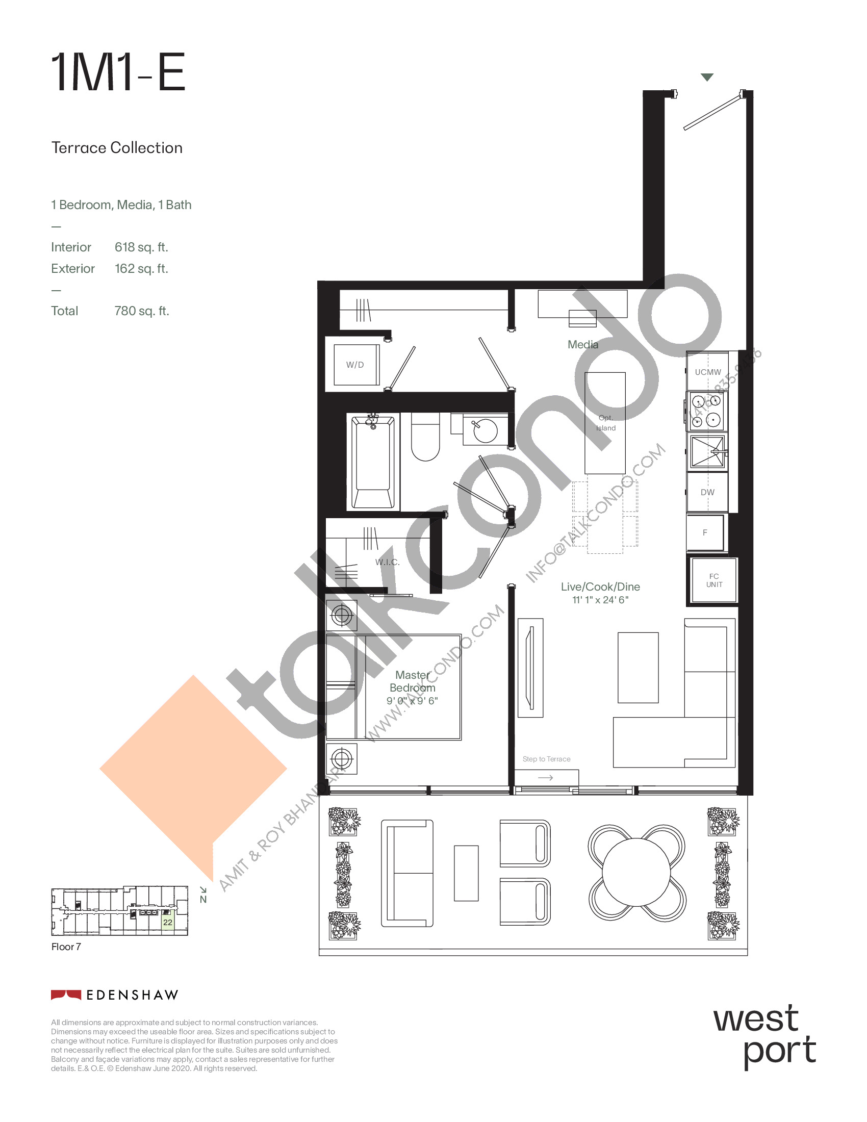 1M1-E - Terrace Collection Floor Plan at Westport Condos - 618 sq.ft