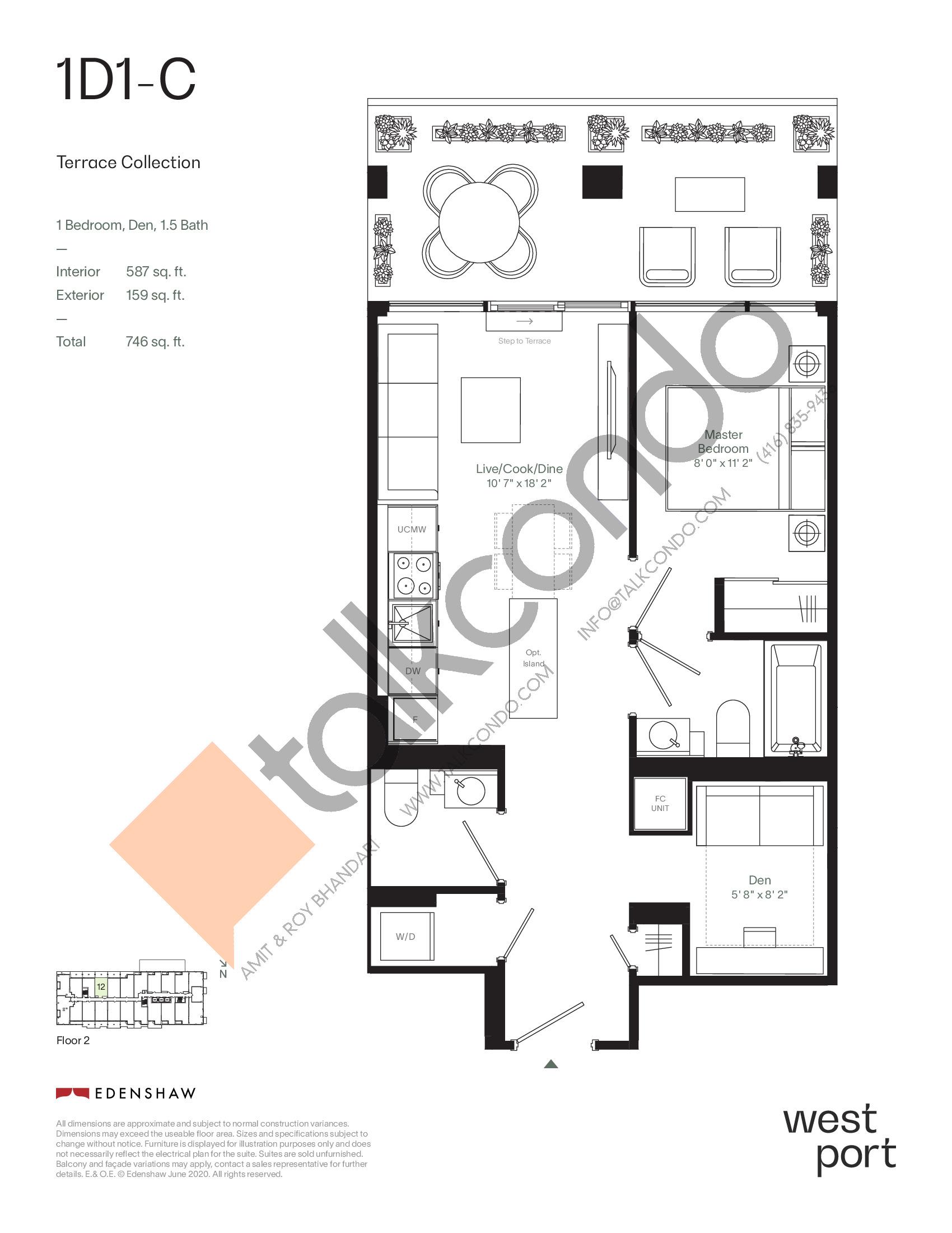 1D1-C - Terrace Collection Floor Plan at Westport Condos - 587 sq.ft