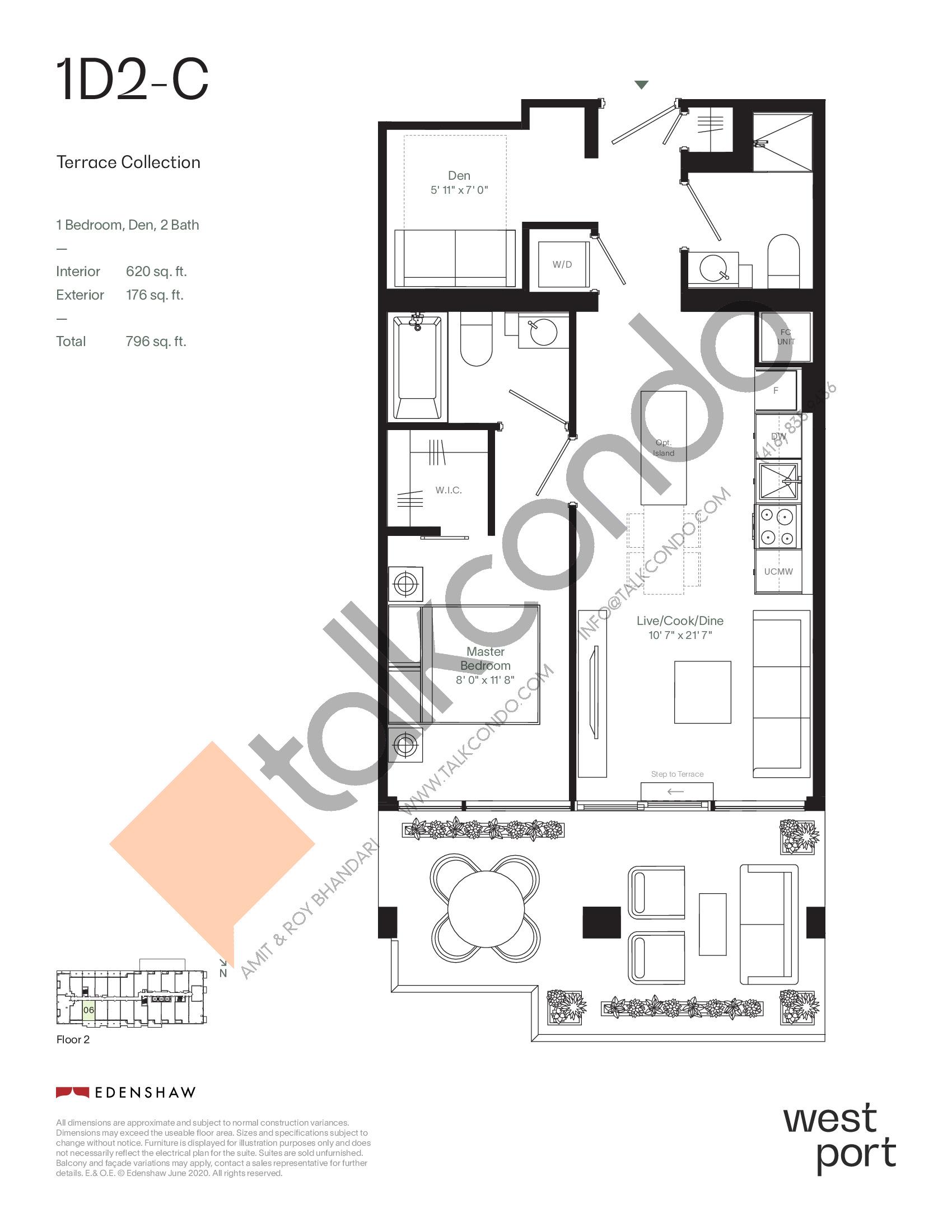 1D2-C - Terrace Collection Floor Plan at Westport Condos - 620 sq.ft
