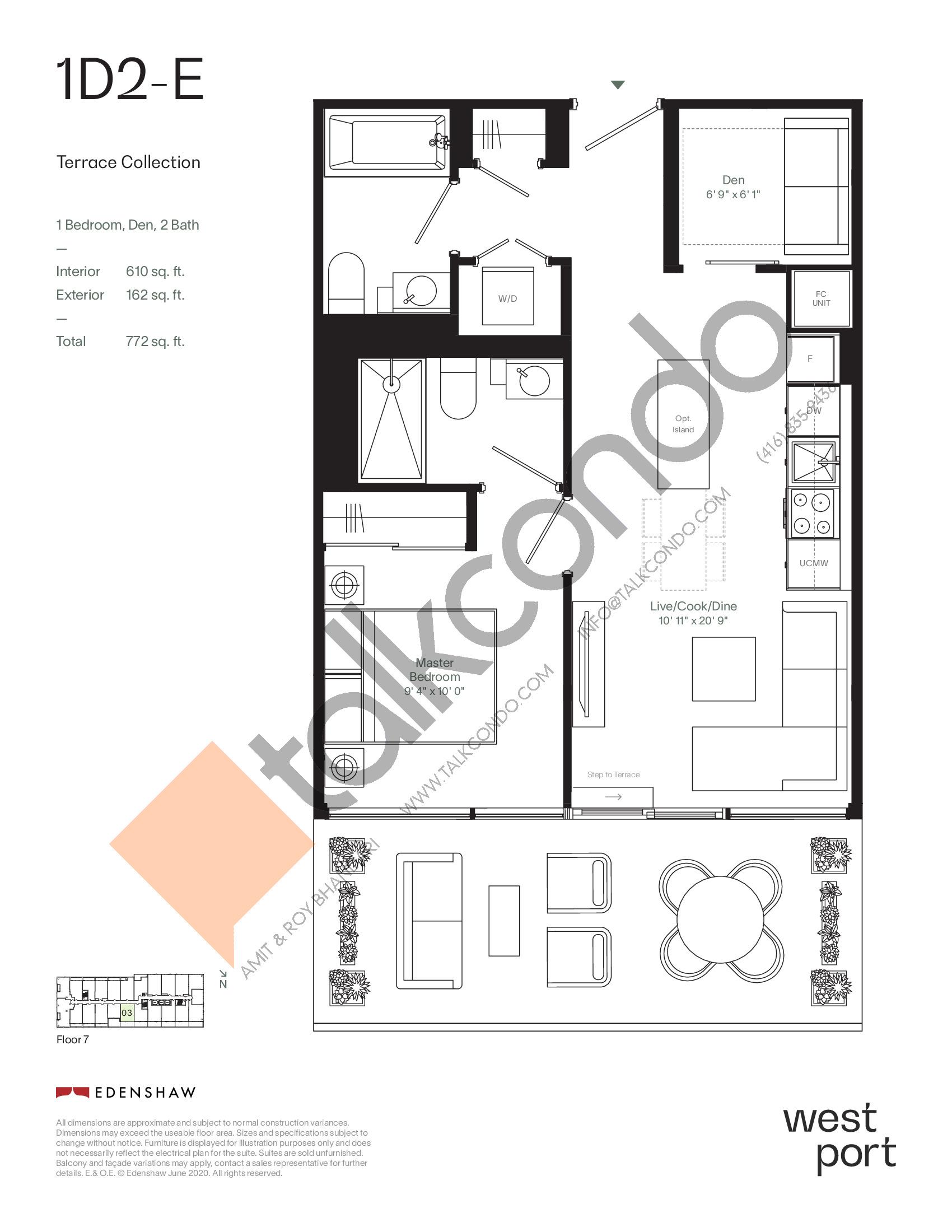 1D2-E - Terrace Collection Floor Plan at Westport Condos - 610 sq.ft