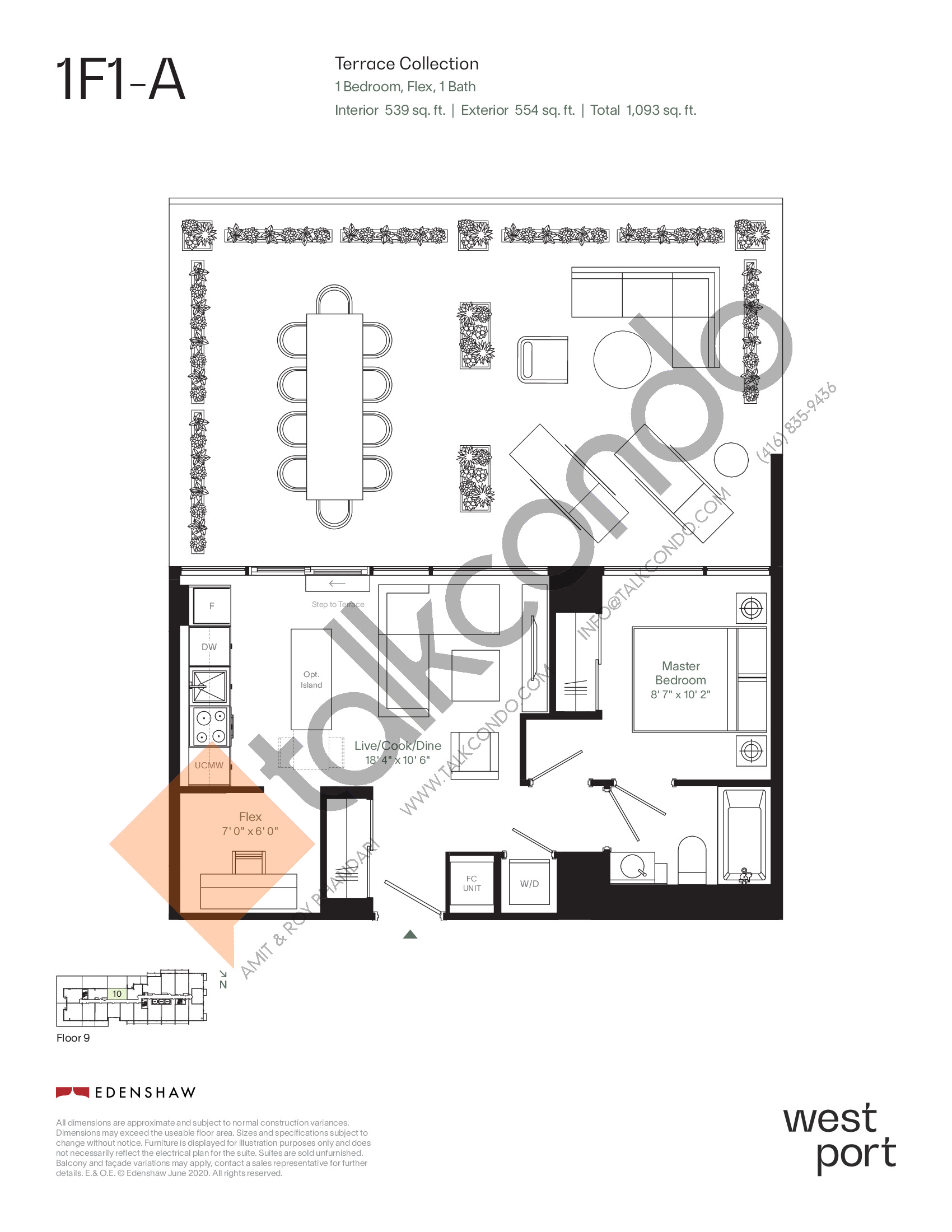 1F1-A - Terrace Collection Floor Plan at Westport Condos - 539 sq.ft
