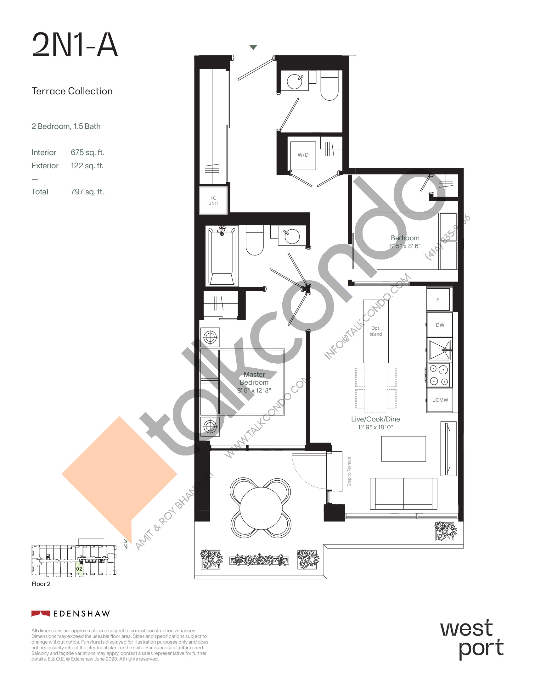 2N1-A - Terrace Collection Floor Plan at Westport Condos - 675 sq.ft