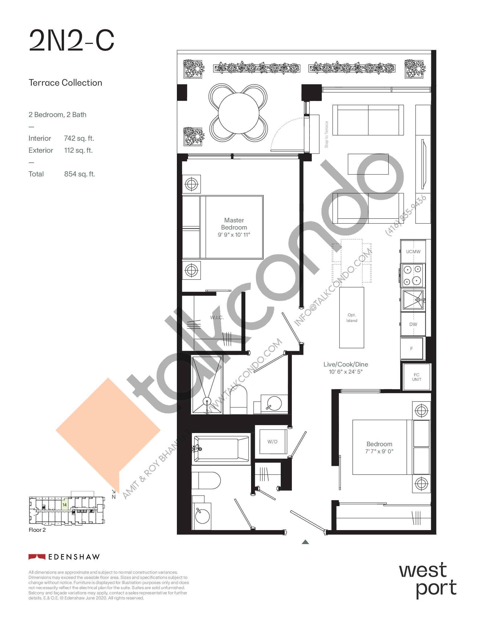 2N2-C - Terrace Collection Floor Plan at Westport Condos - 742 sq.ft