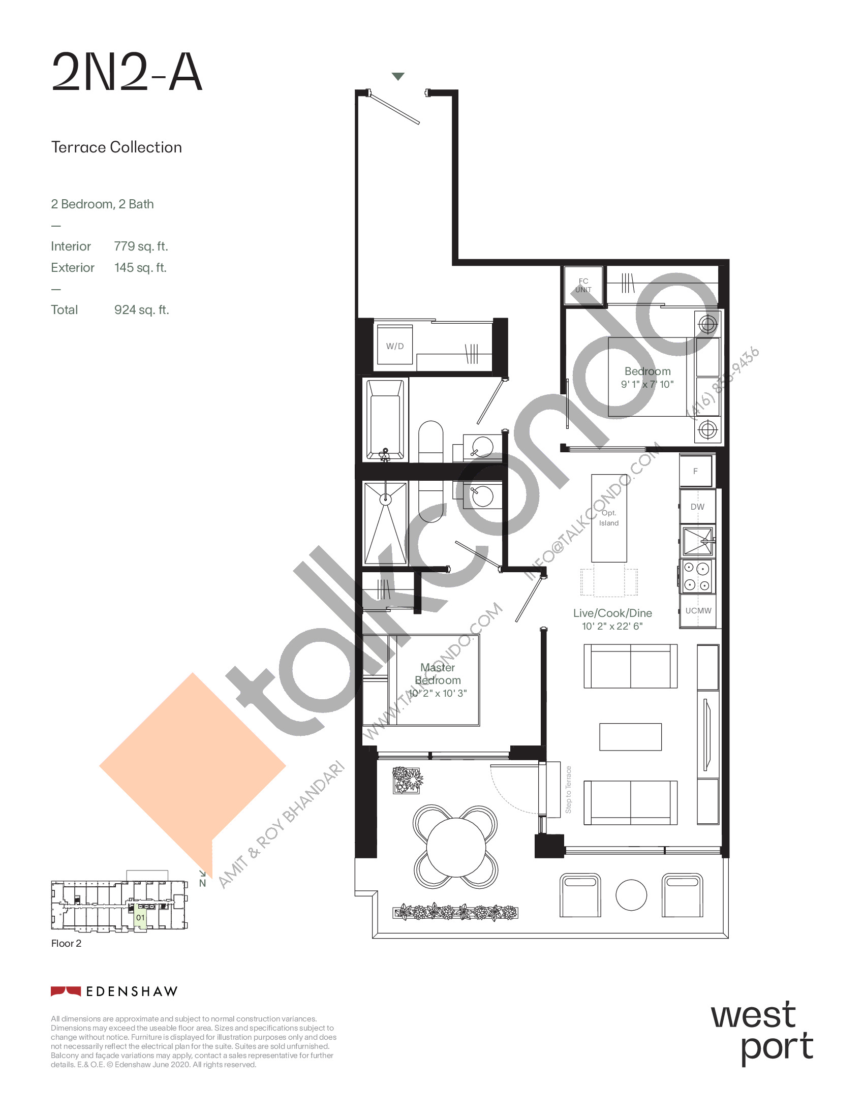 2N2-A - Terrace Collection Floor Plan at Westport Condos - 779 sq.ft