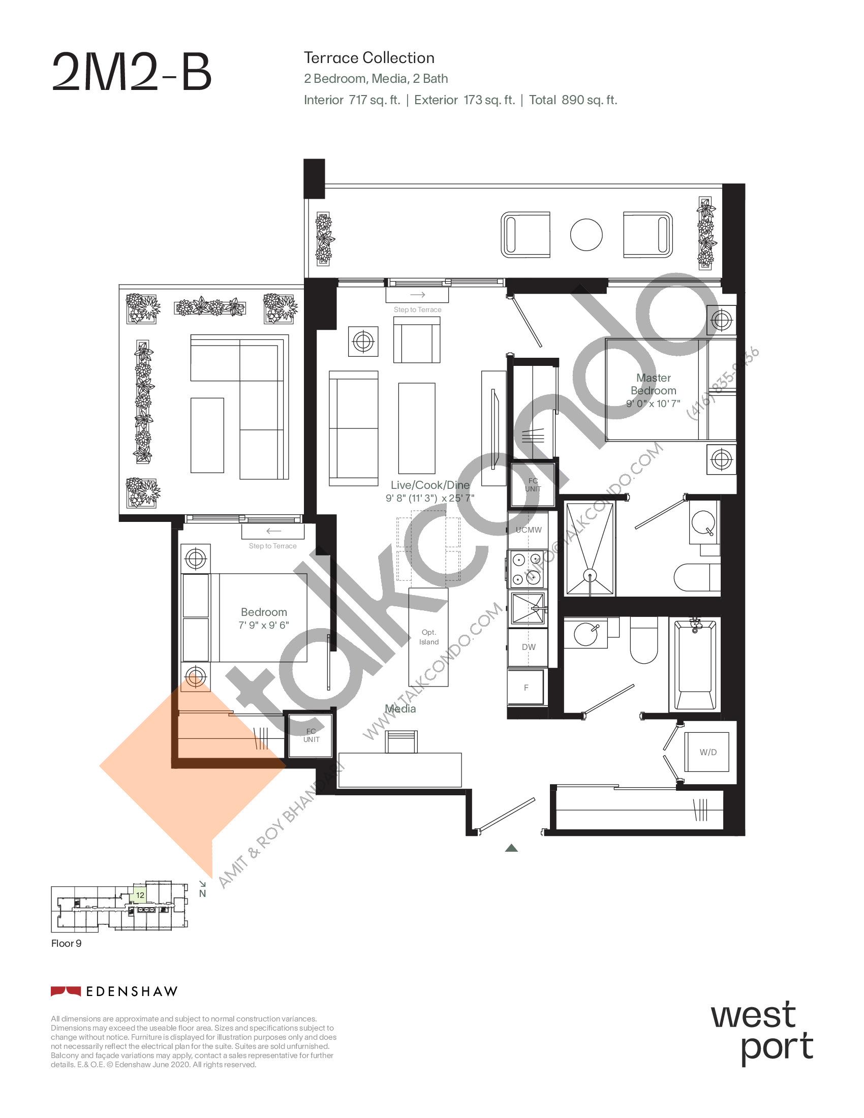 2M2-B - Terrace Collection Floor Plan at Westport Condos - 717 sq.ft