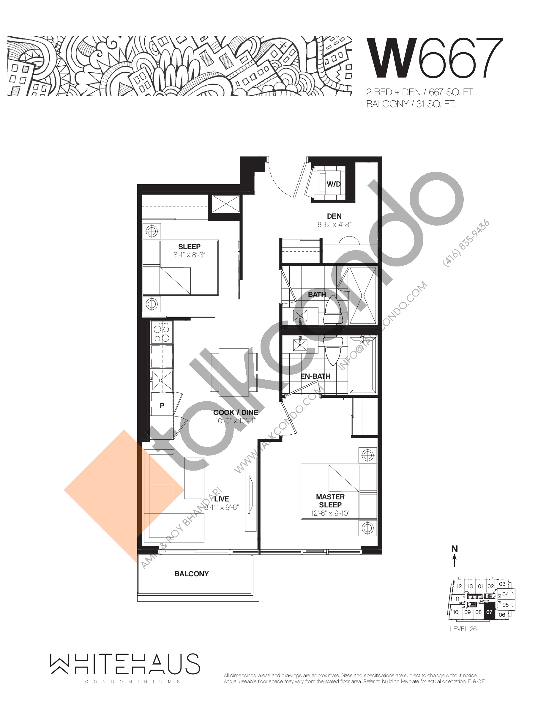 W667 Floor Plan at Whitehaus Condos - 667 sq.ft
