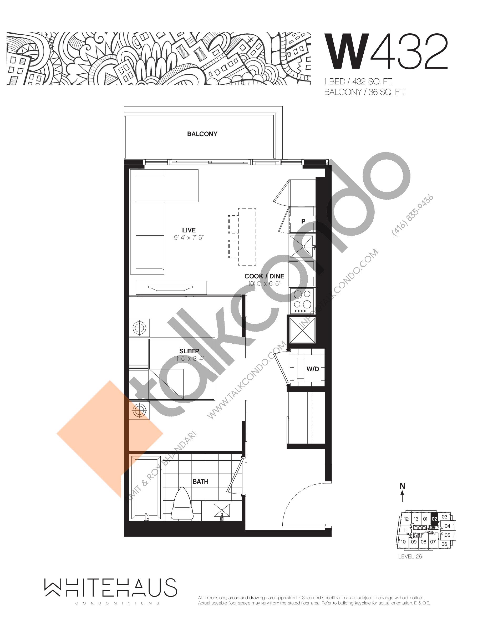 W432 Floor Plan at Whitehaus Condos - 432 sq.ft