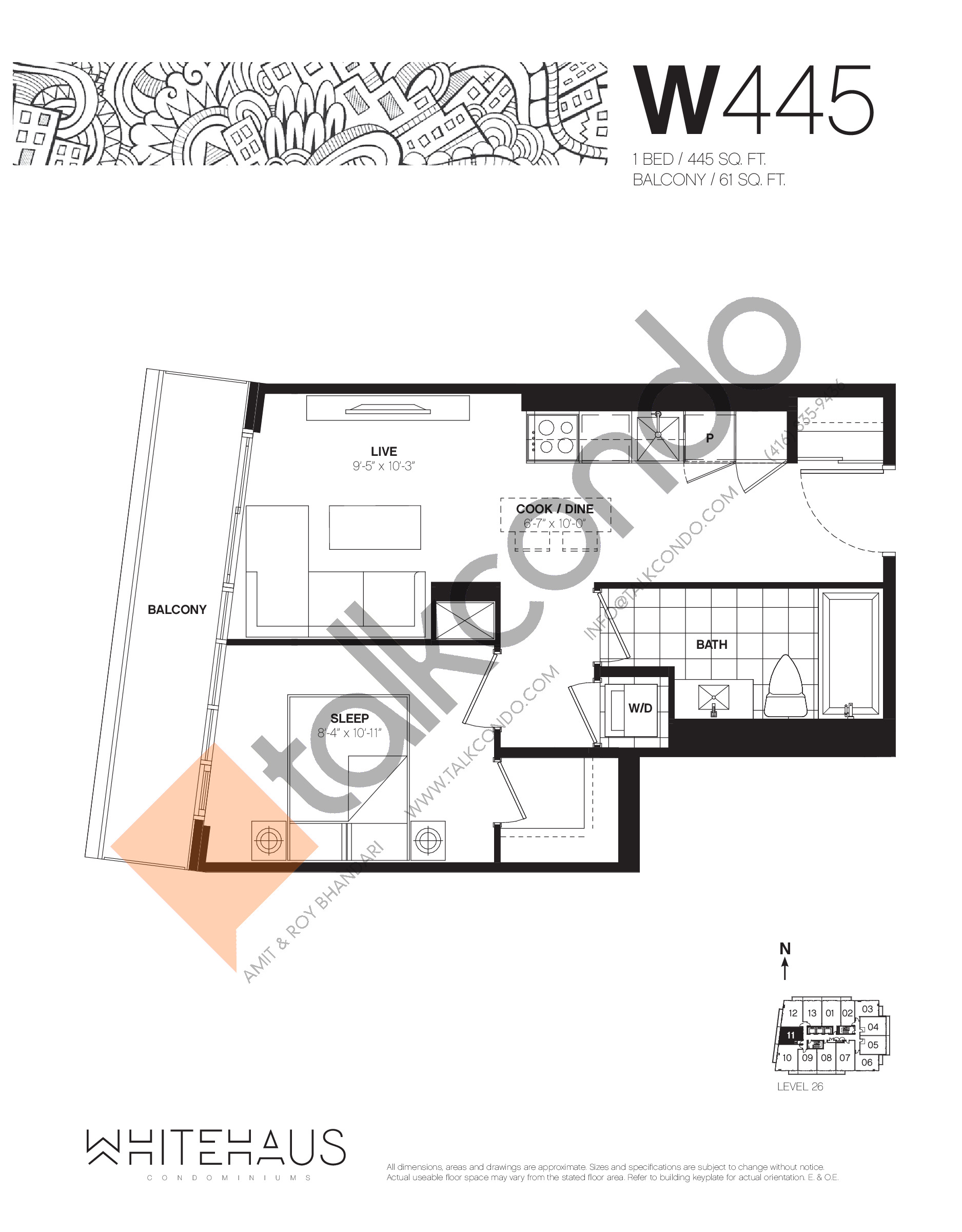 W445 Floor Plan at Whitehaus Condos - 445 sq.ft