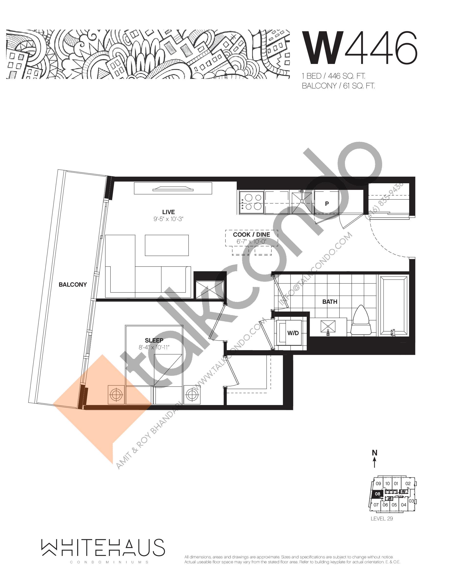 W446 Floor Plan at Whitehaus Condos - 446 sq.ft
