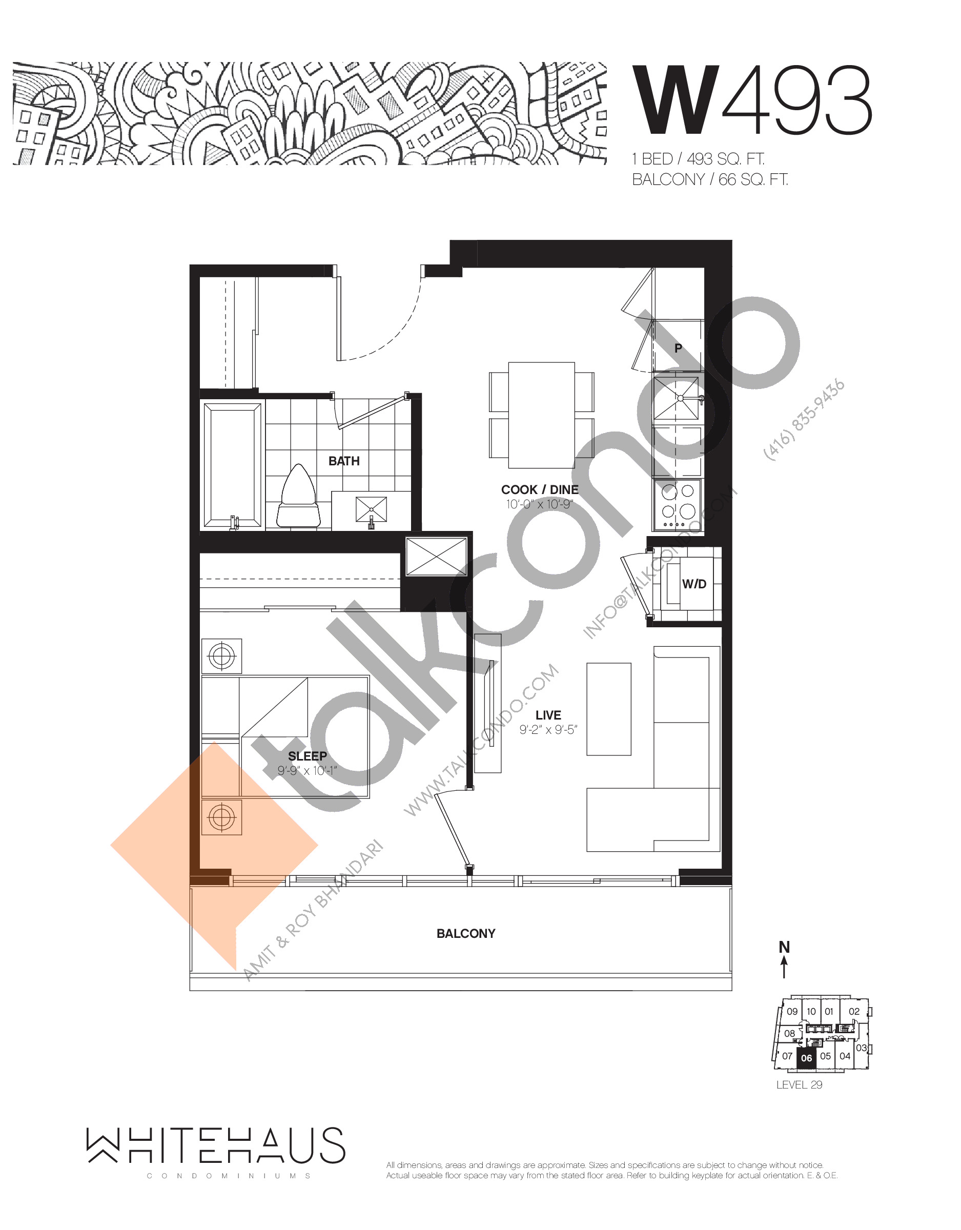 W493 Floor Plan at Whitehaus Condos - 493 sq.ft