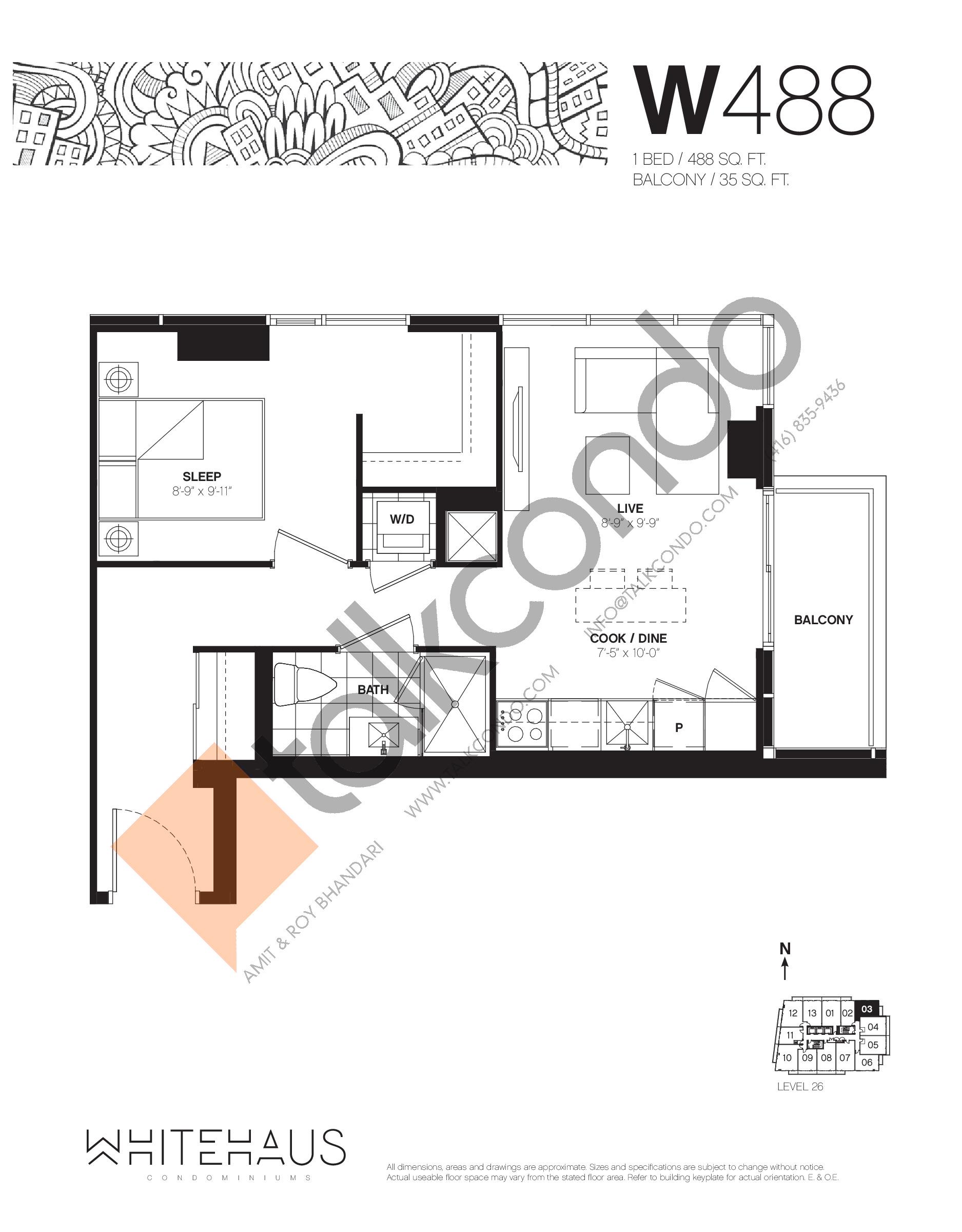 W488 Floor Plan at Whitehaus Condos - 488 sq.ft