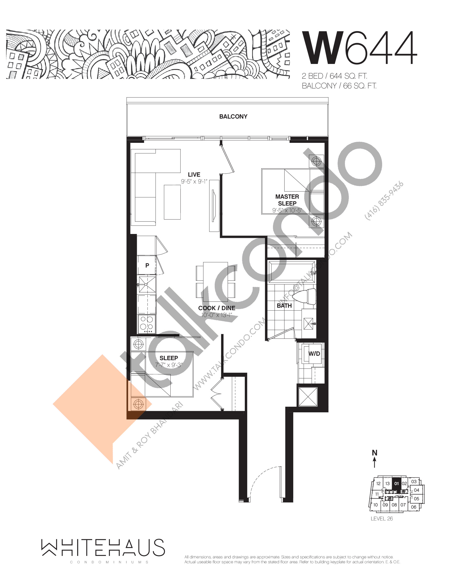 W644 Floor Plan at Whitehaus Condos - 644 sq.ft