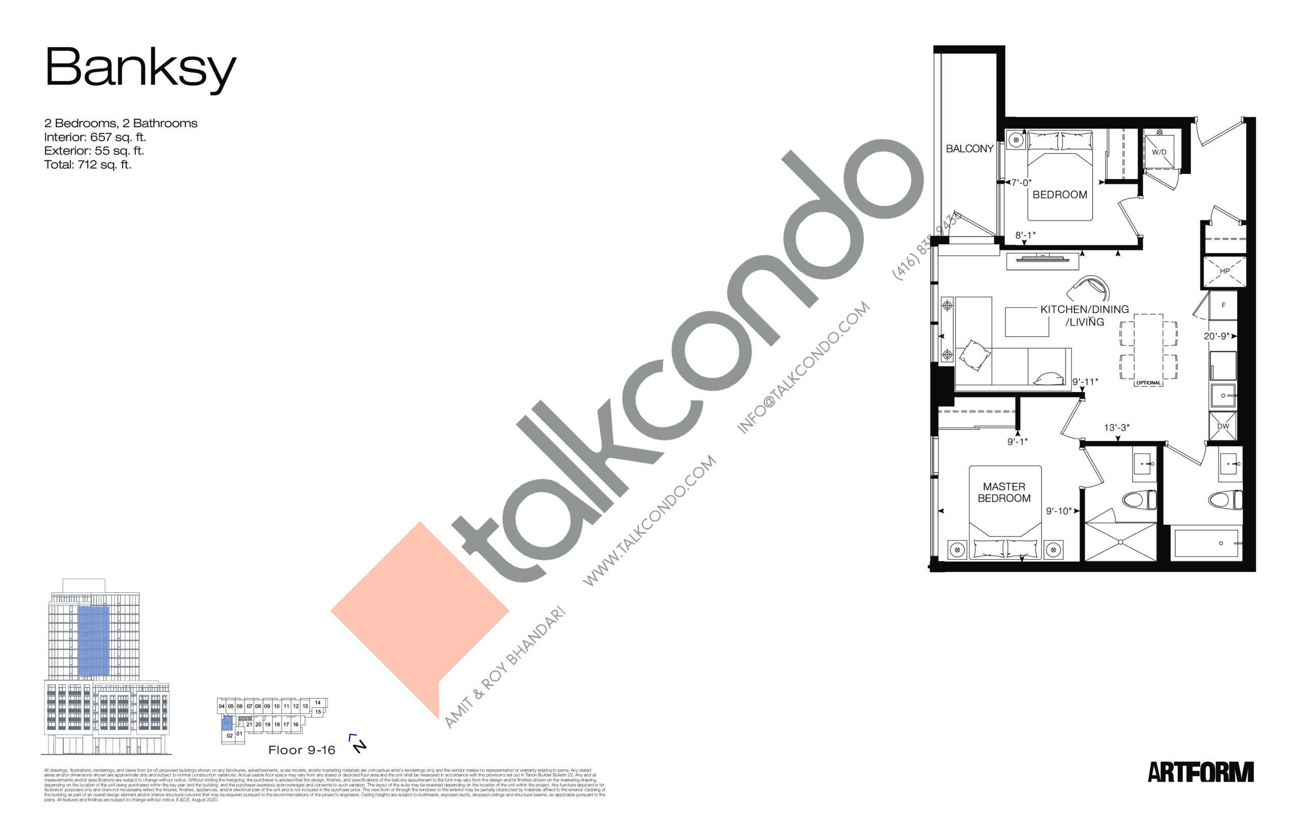 Banksy Floor Plan at Artform Condos - 657 sq.ft