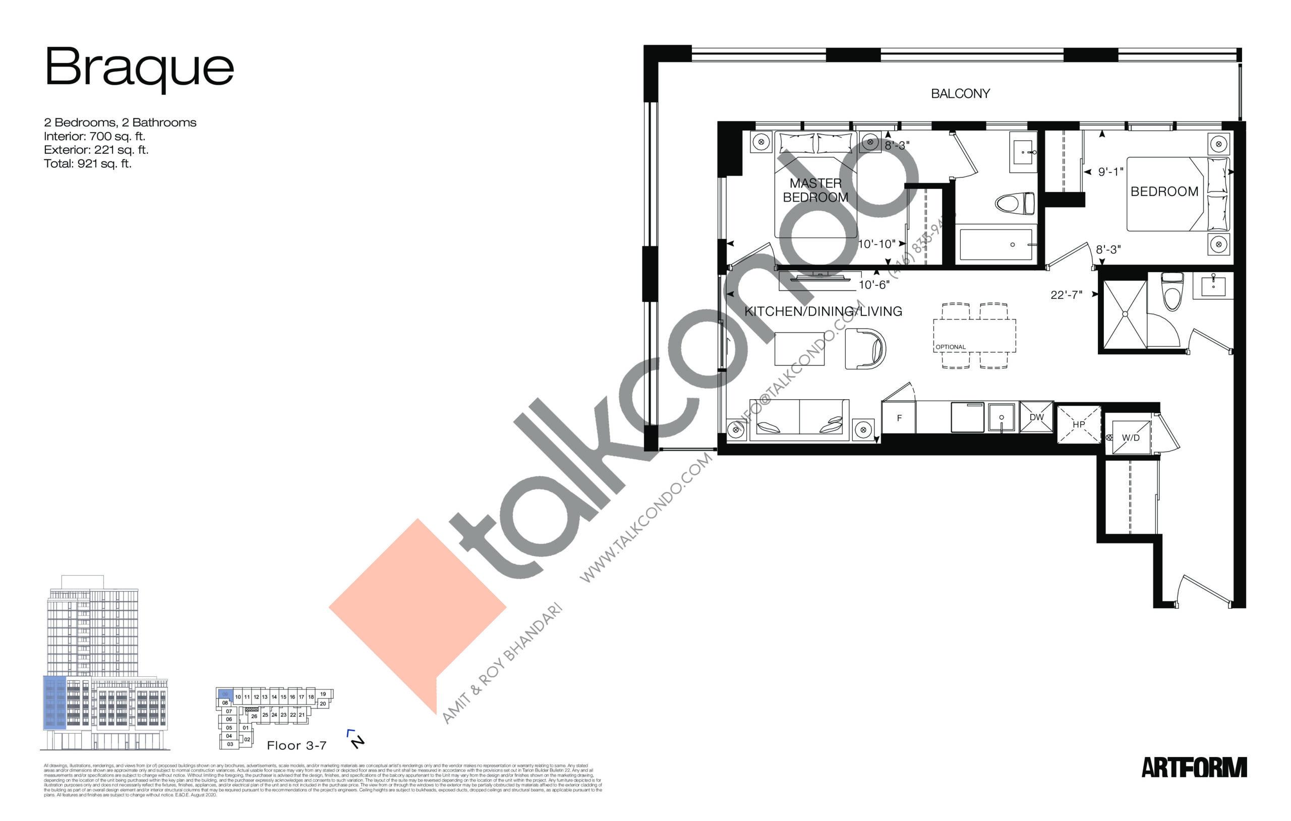 Braque Floor Plan at Artform Condos - 700 sq.ft