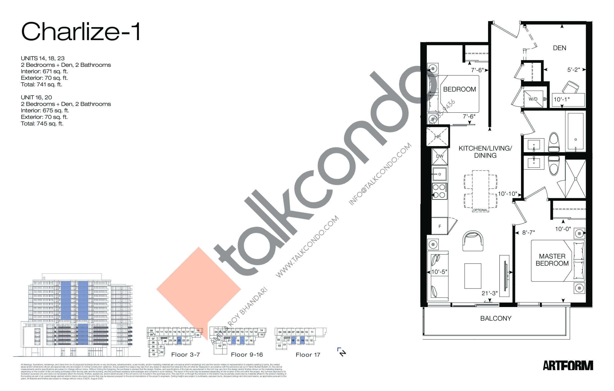 Charlize-1 Floor Plan at Artform Condos - 675 sq.ft