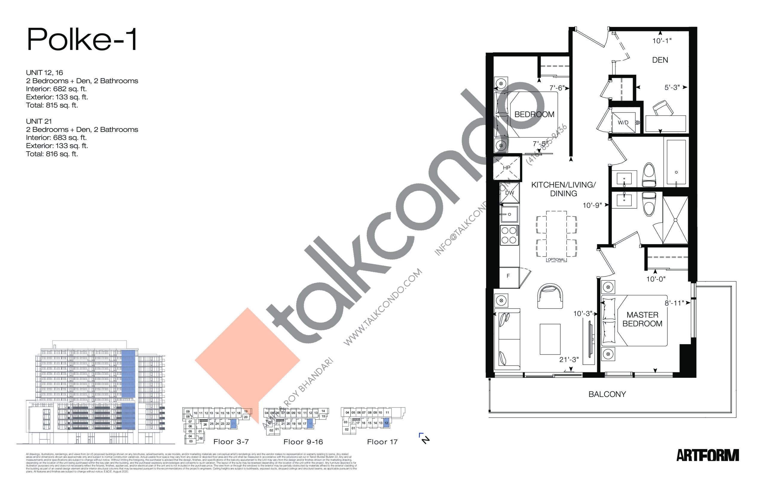 Polke-1 Floor Plan at Artform Condos - 683 sq.ft