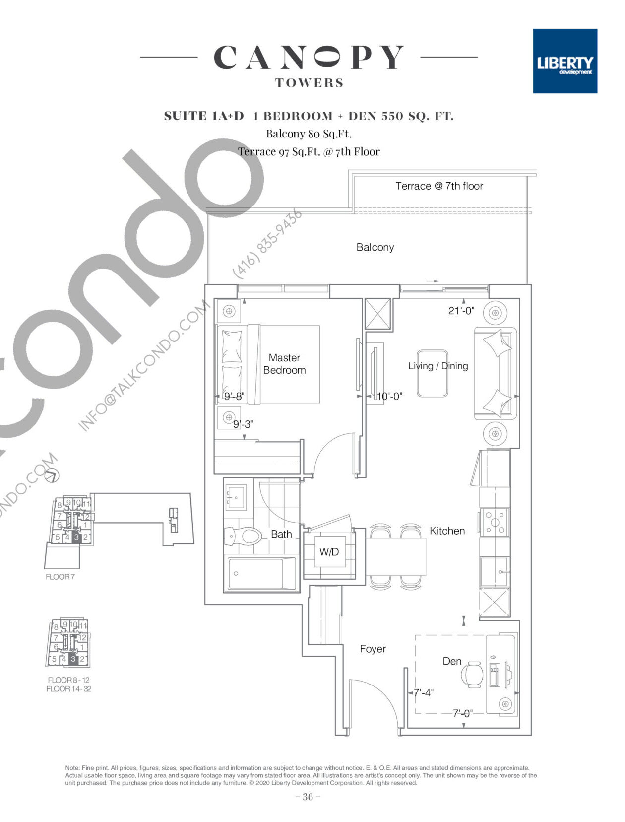Suite 1A+D Floor Plan at Canopy Towers Condos - 550 sq.ft