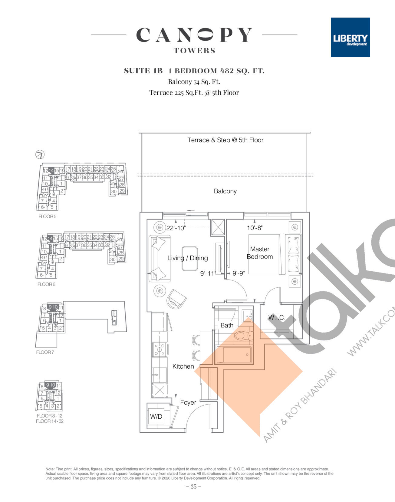 Suite 1B Floor Plan at Canopy Towers Condos - 482 sq.ft