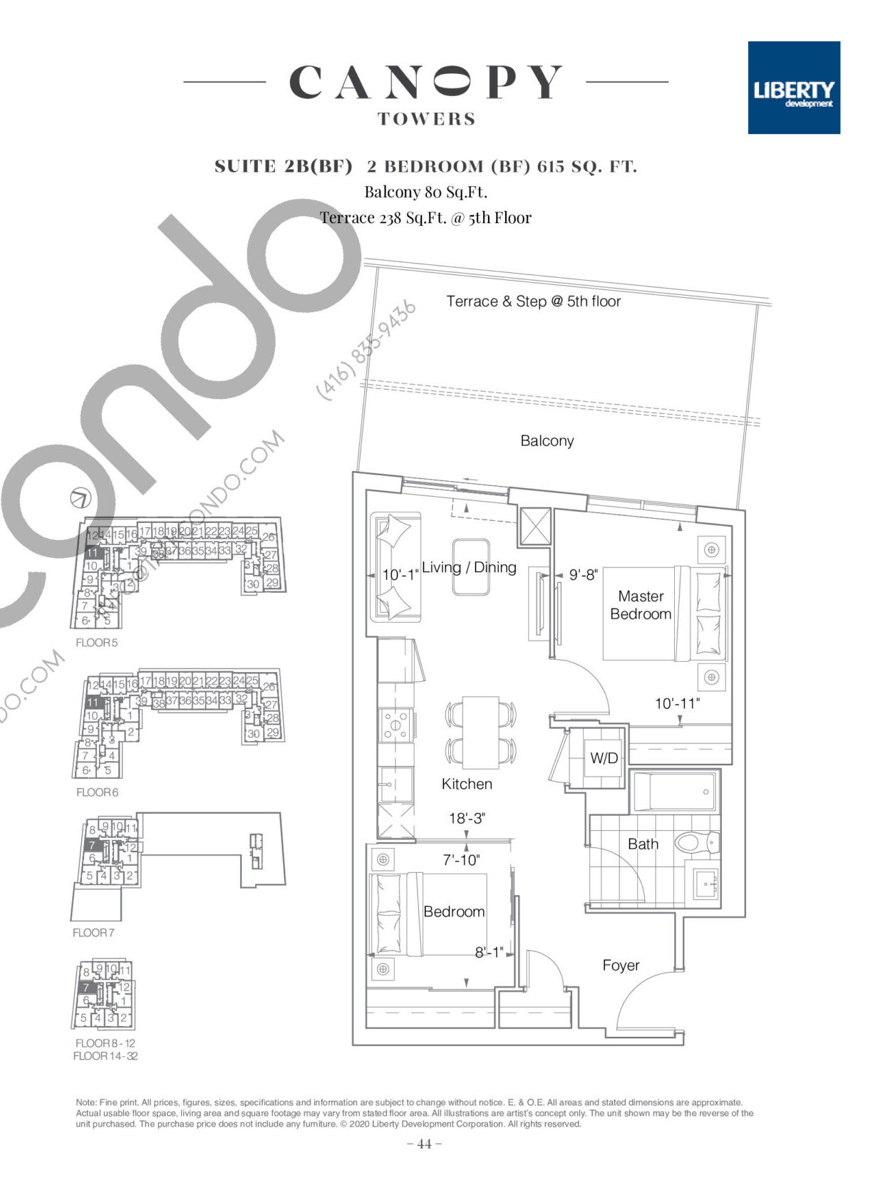 Suite 2B(BF) Floor Plan at Canopy Towers Condos - 615 sq.ft