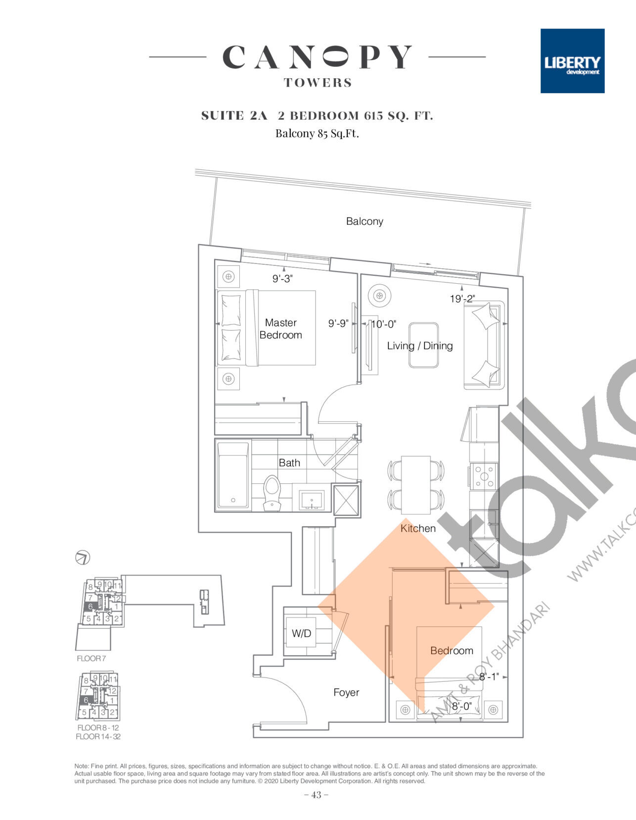 Suite 2A Floor Plan at Canopy Towers Condos - 615 sq.ft