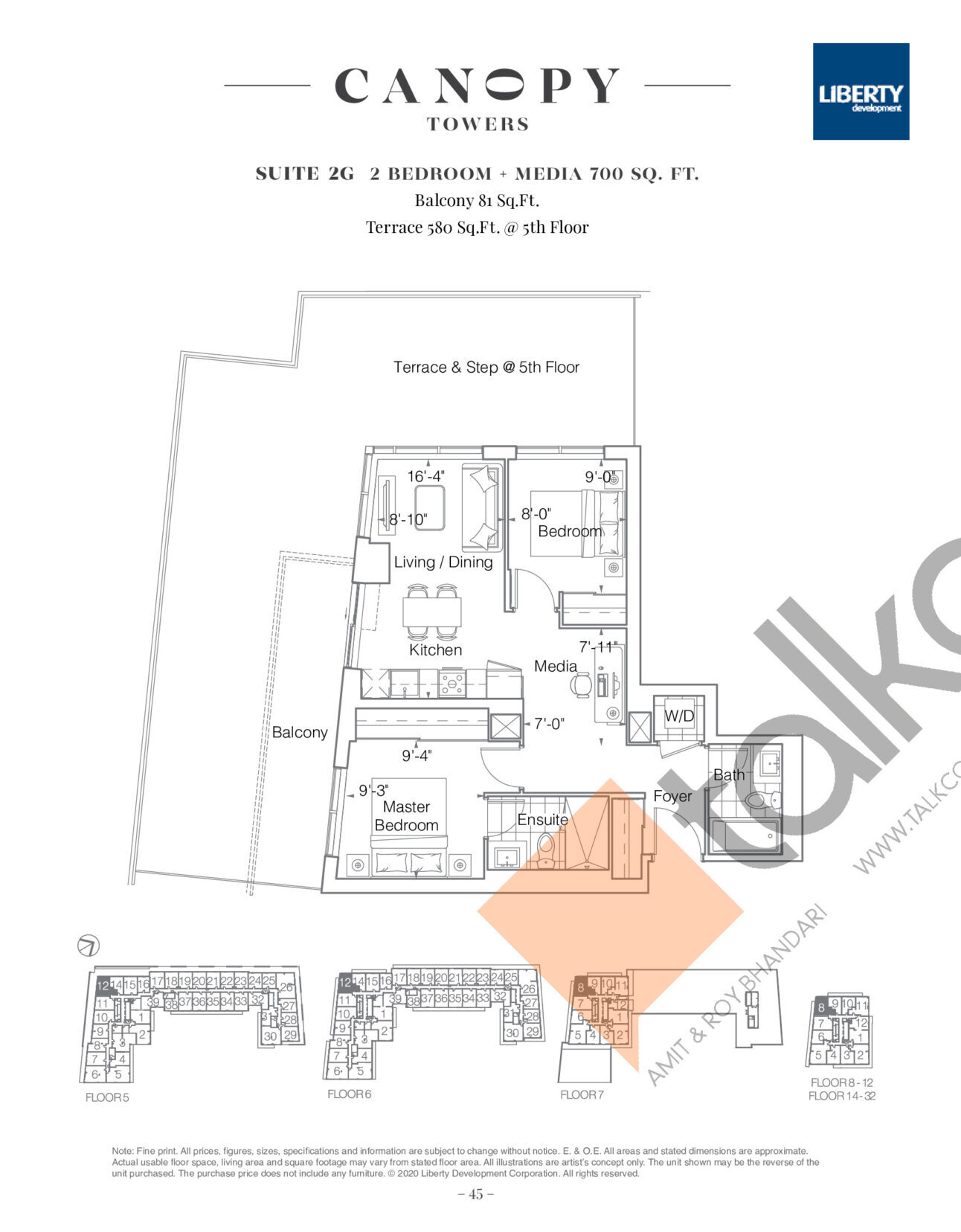 Suite 2G Floor Plan at Canopy Towers Condos - 700 sq.ft