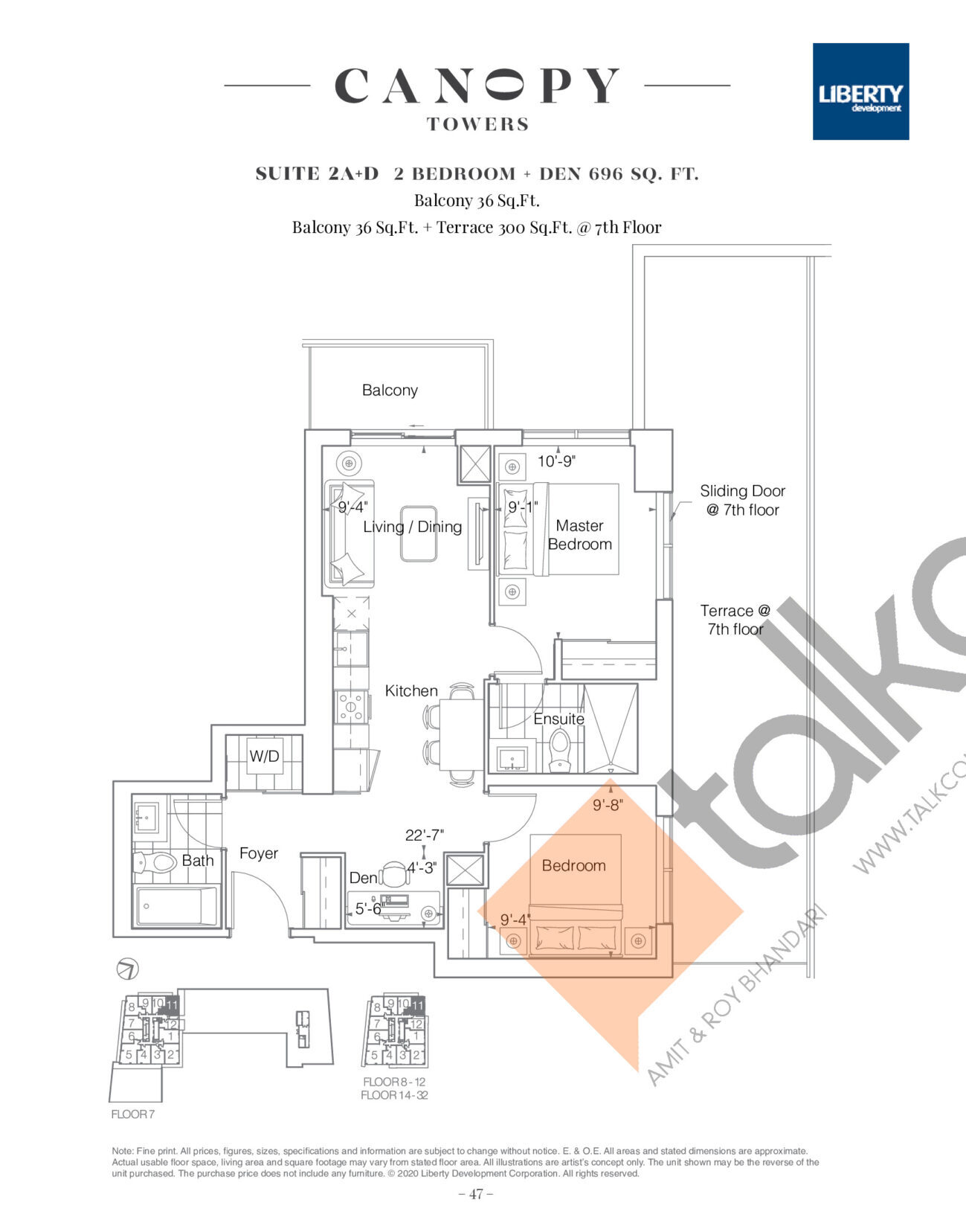 Suite 2A+D Floor Plan at Canopy Towers Condos - 696 sq.ft