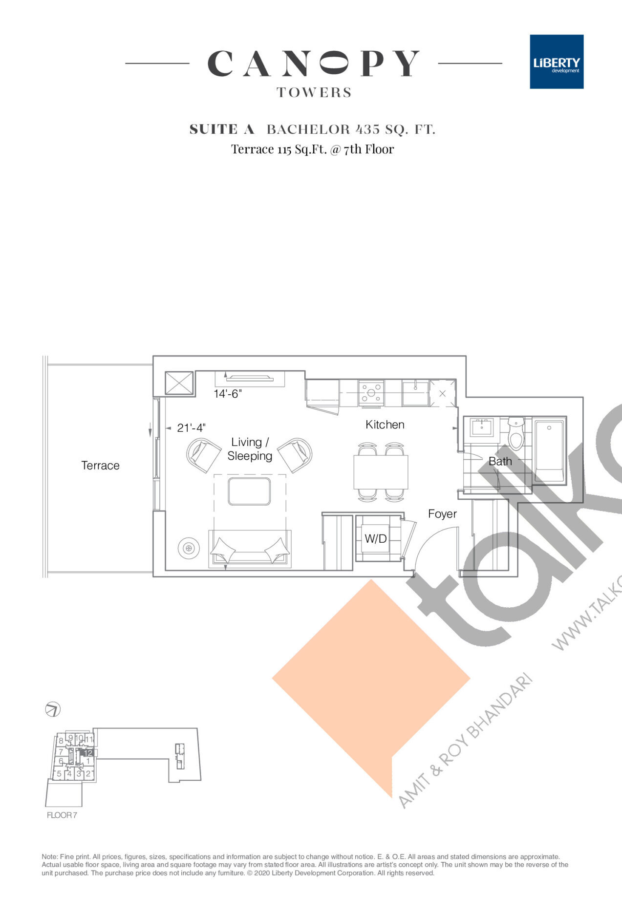 Suite A Floor Plan at Canopy Towers Condos - 435 sq.ft