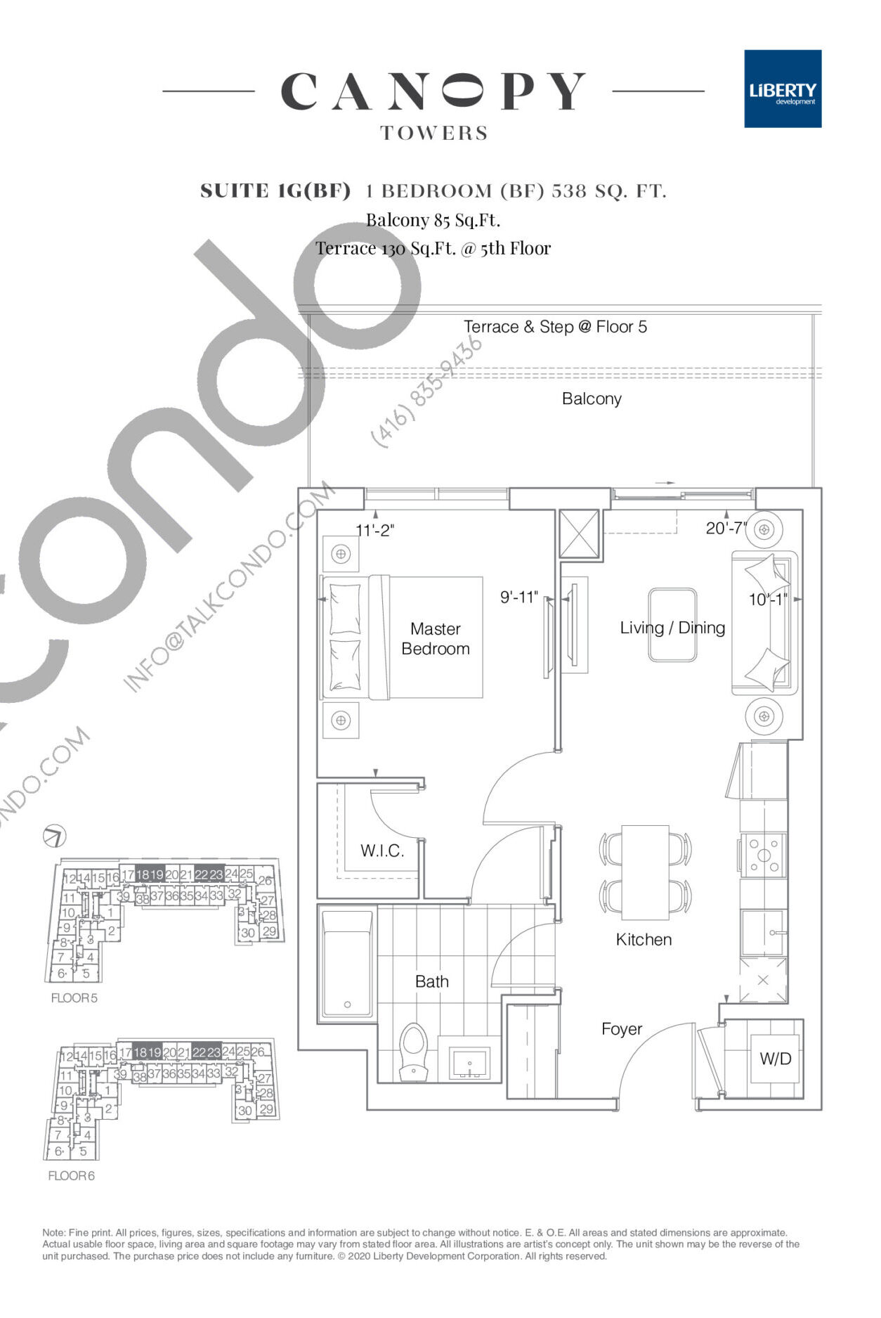 Suite 1G(BF) Floor Plan at Canopy Towers Condos - 538 sq.ft