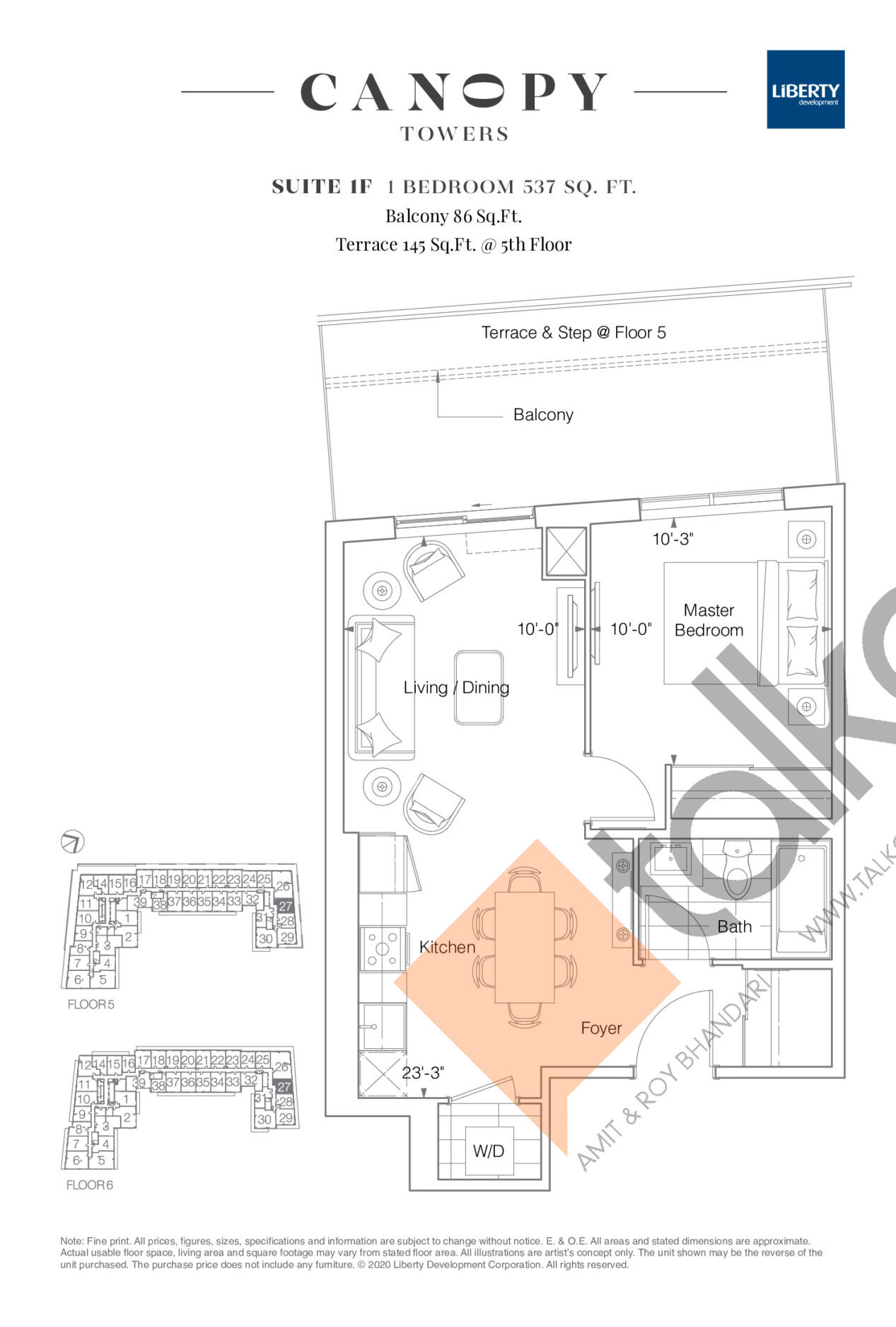 Suite 1F Floor Plan at Canopy Towers Condos - 537 sq.ft