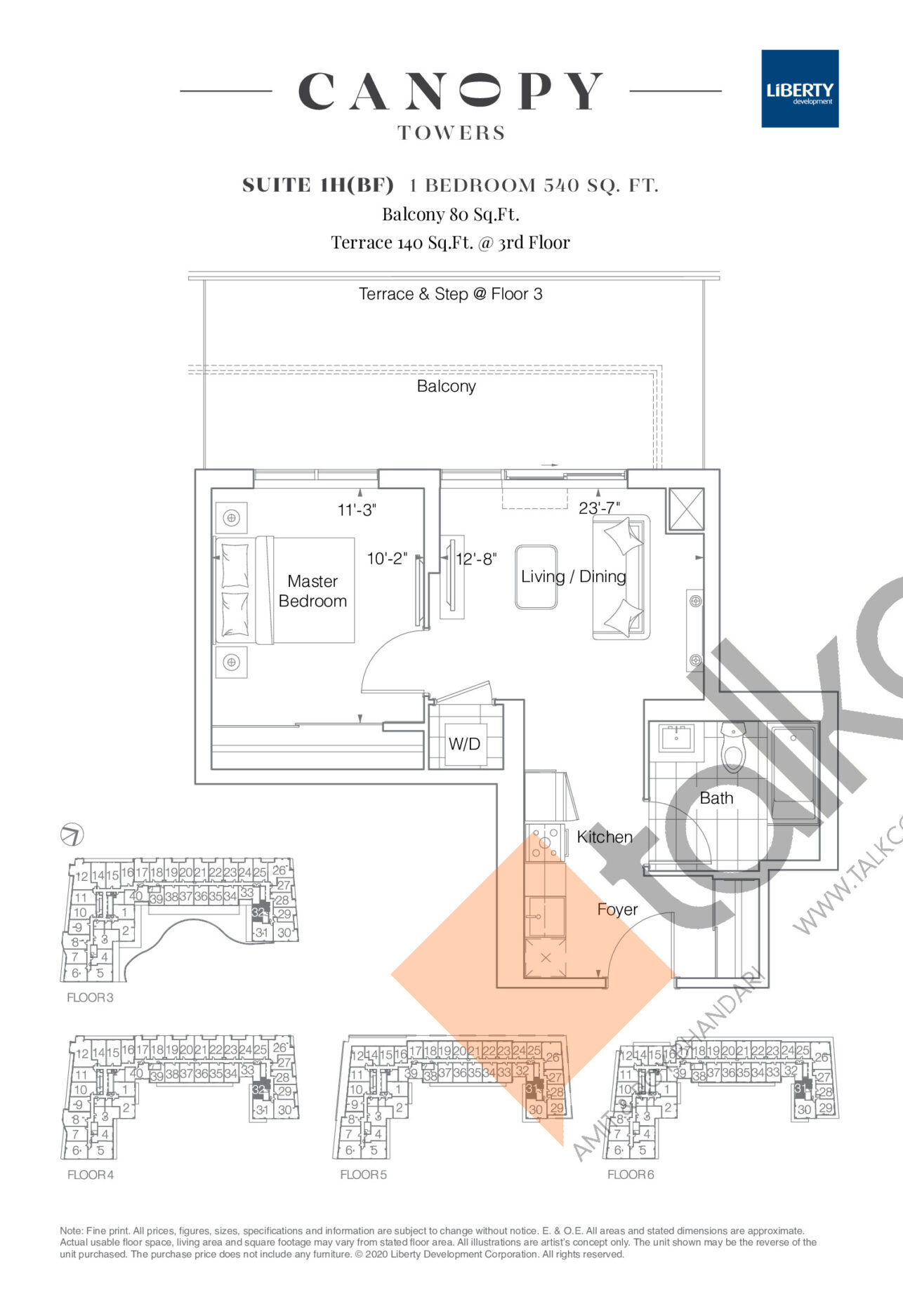 Suite 1H(BF) Floor Plan at Canopy Towers Condos - 540 sq.ft