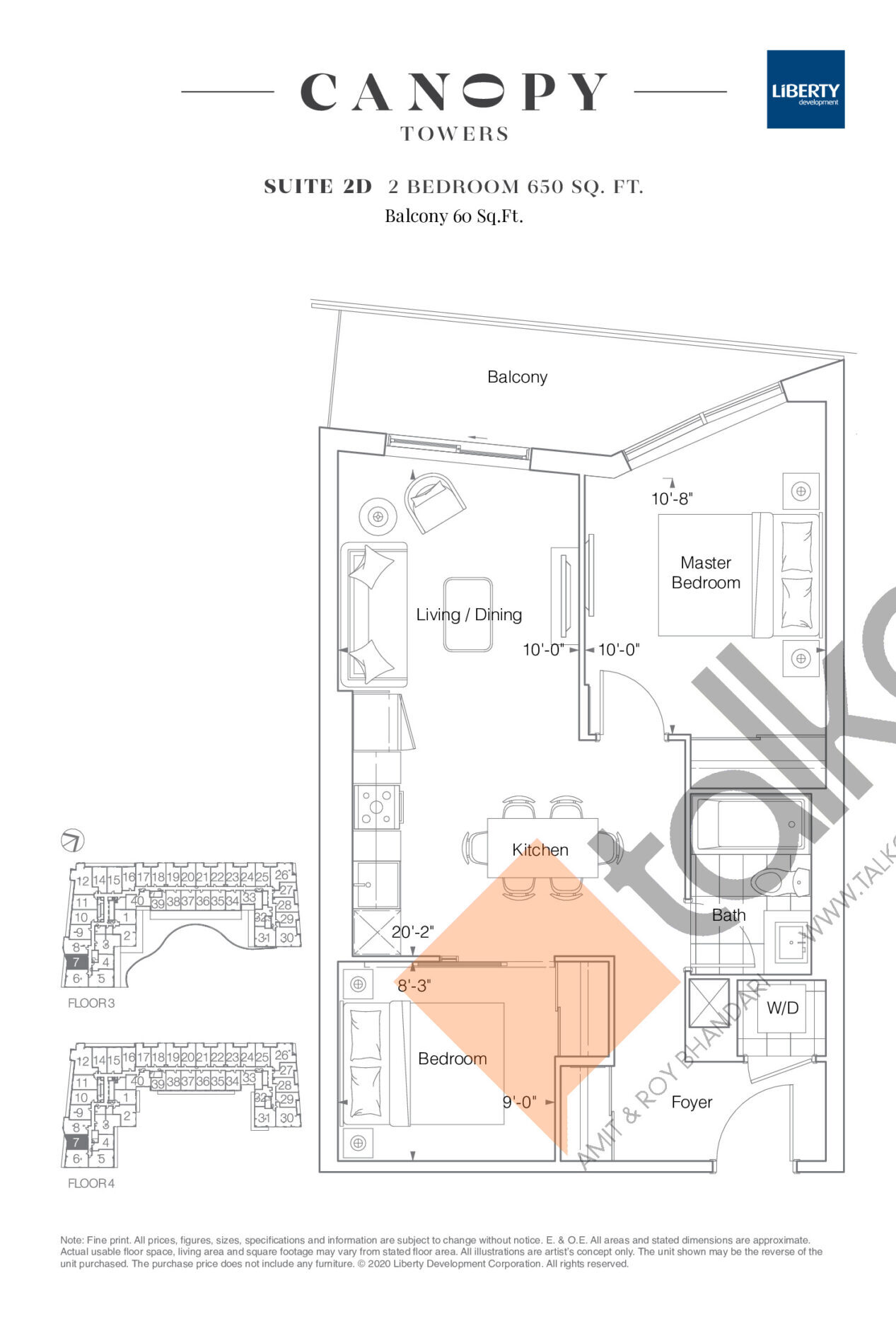 Suite 2D Floor Plan at Canopy Towers Condos - 650 sq.ft