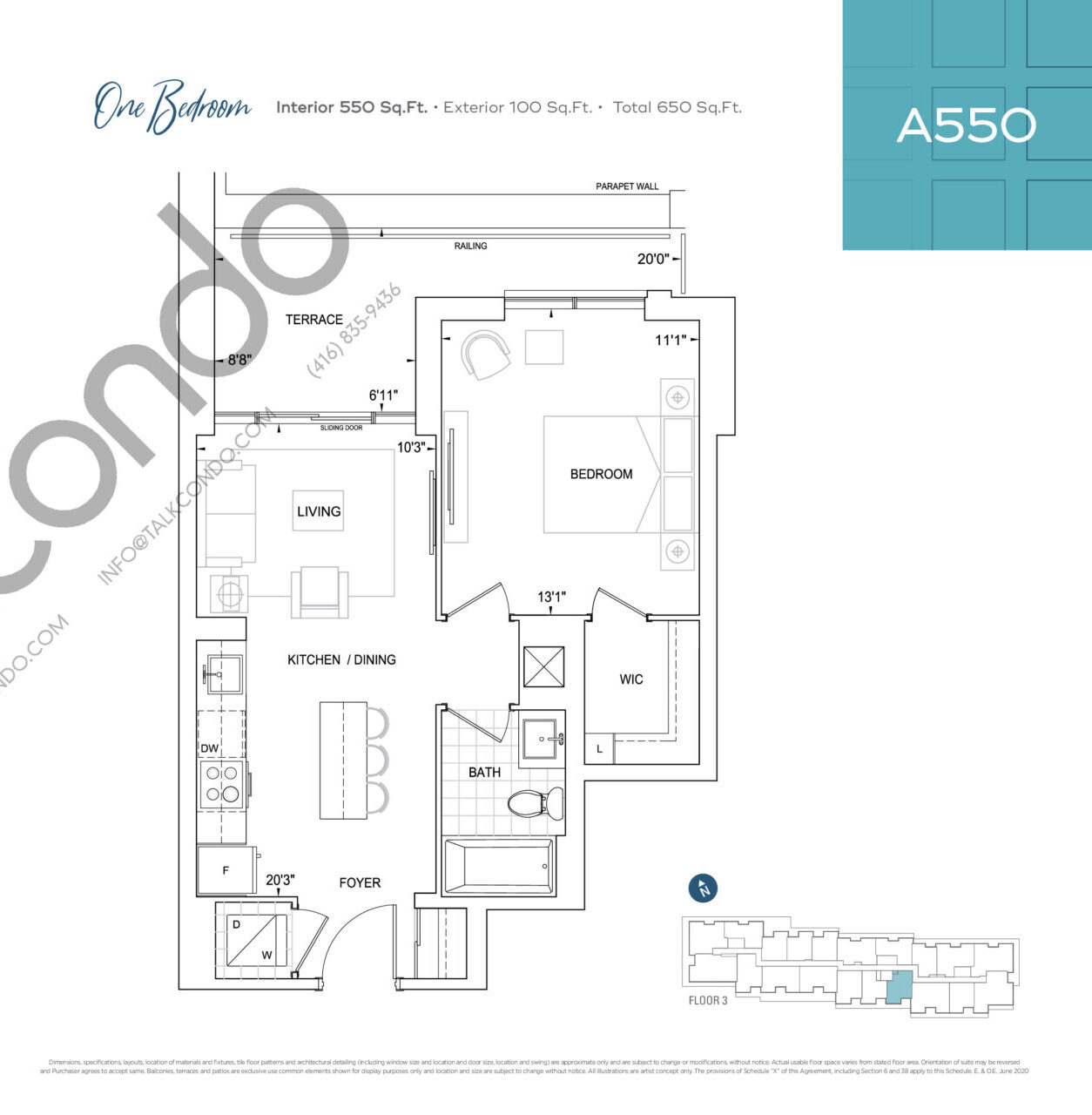 A550 Floor Plan at Dunwest Condos - 550 sq.ft