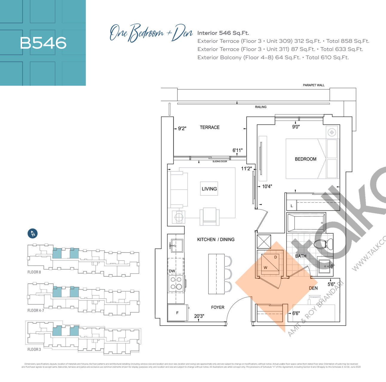B546 Floor Plan at Dunwest Condos - 546 sq.ft