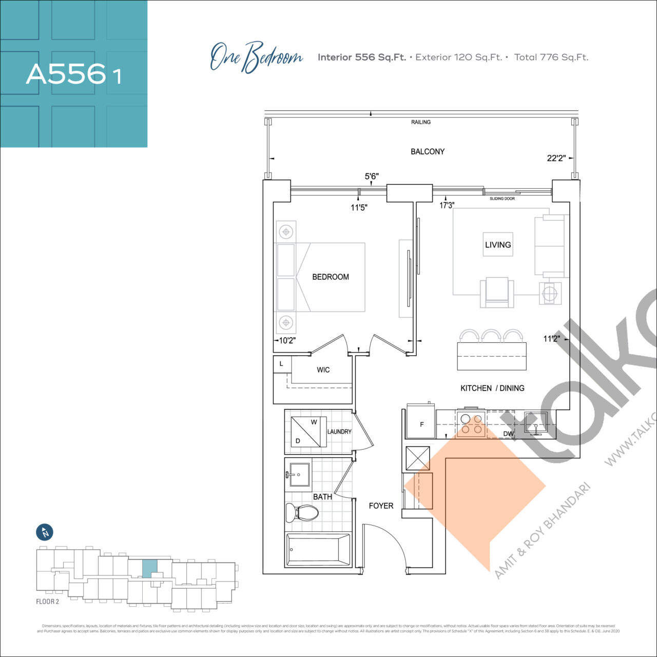 A556 1 Floor Plan at Dunwest Condos - 556 sq.ft