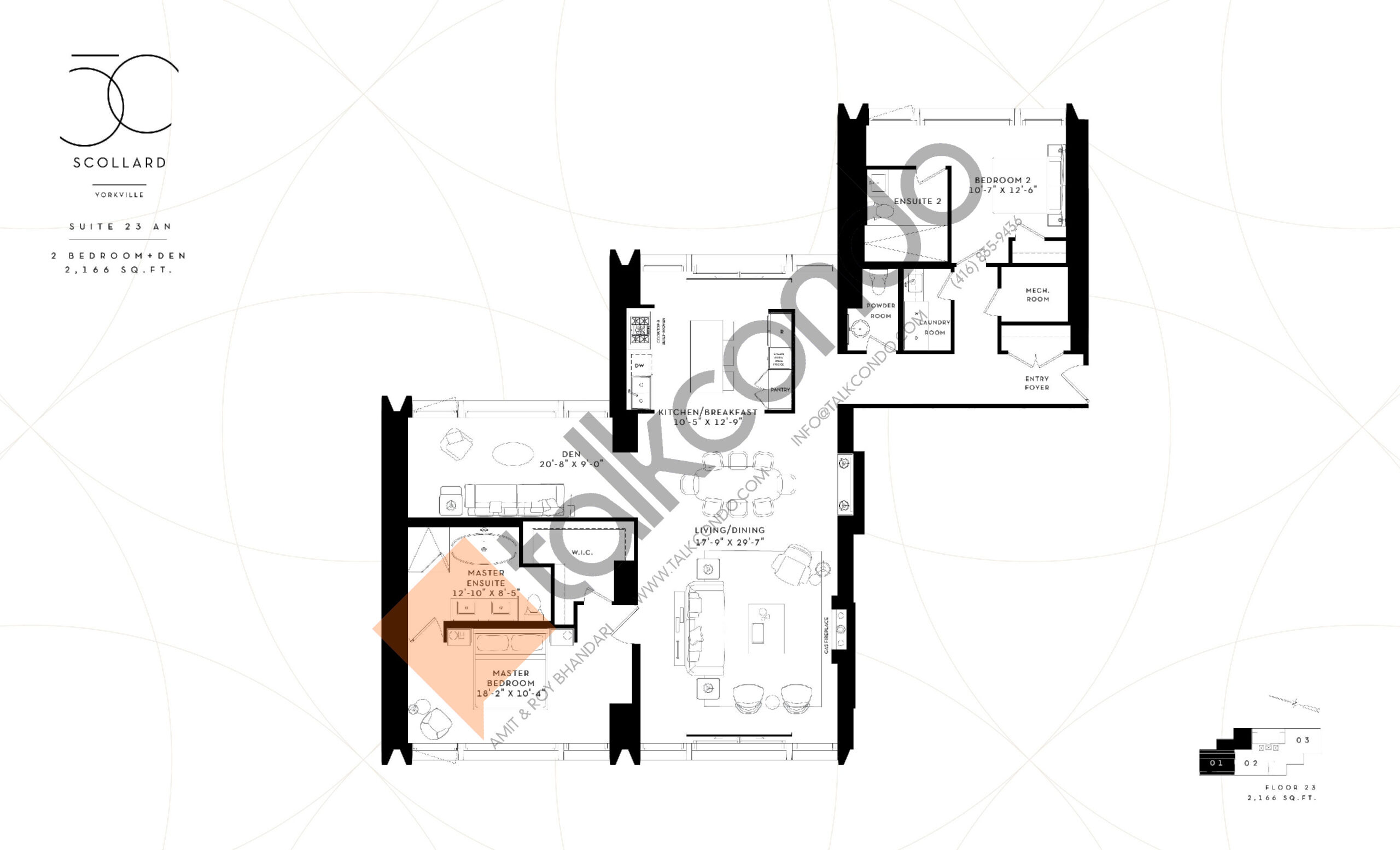 Suite 23 AN Floor Plan at Fifty Scollard Condos - 2166 sq.ft